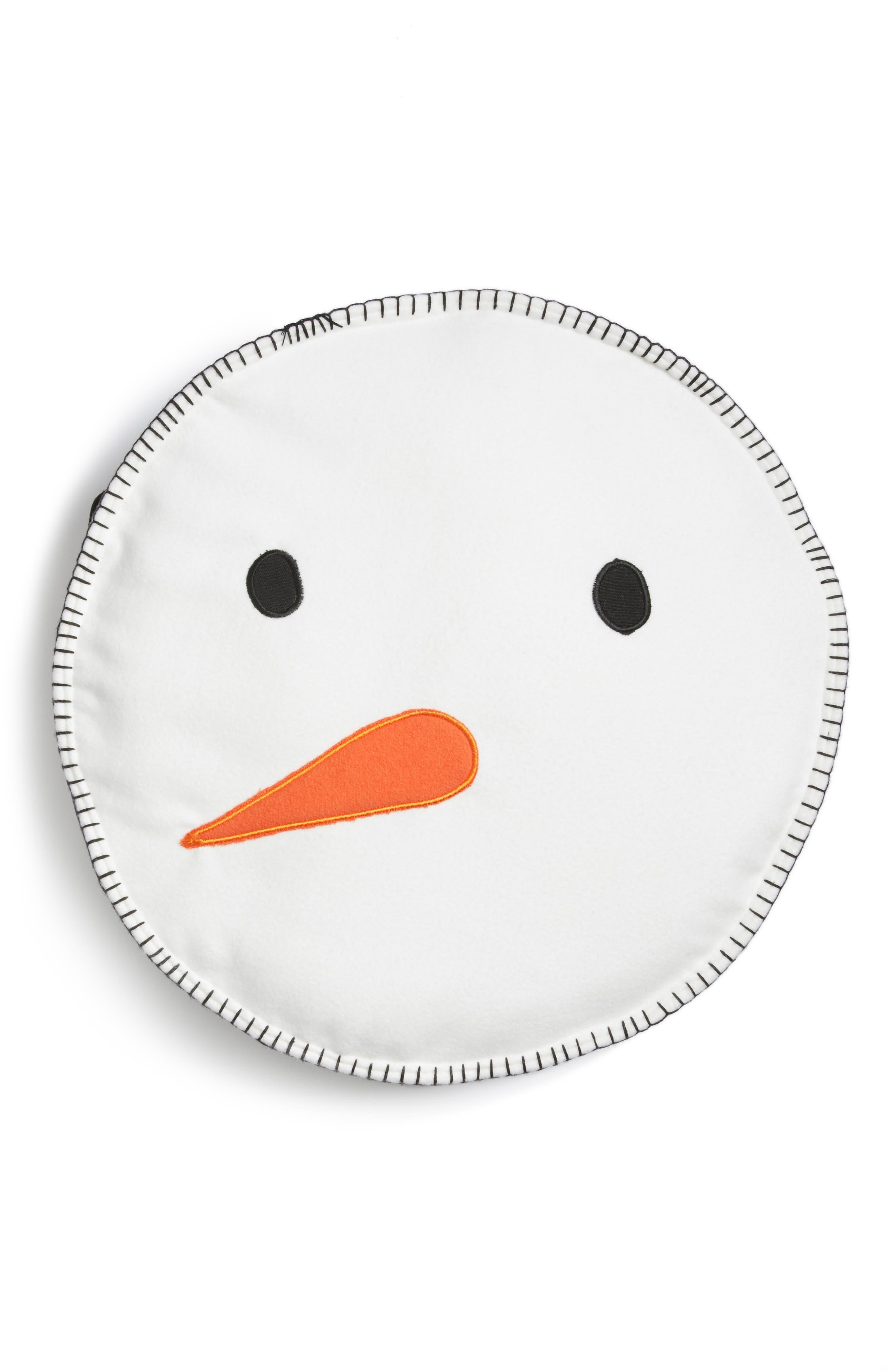 Snowman Face Round Pillow,                         Main,                         color,