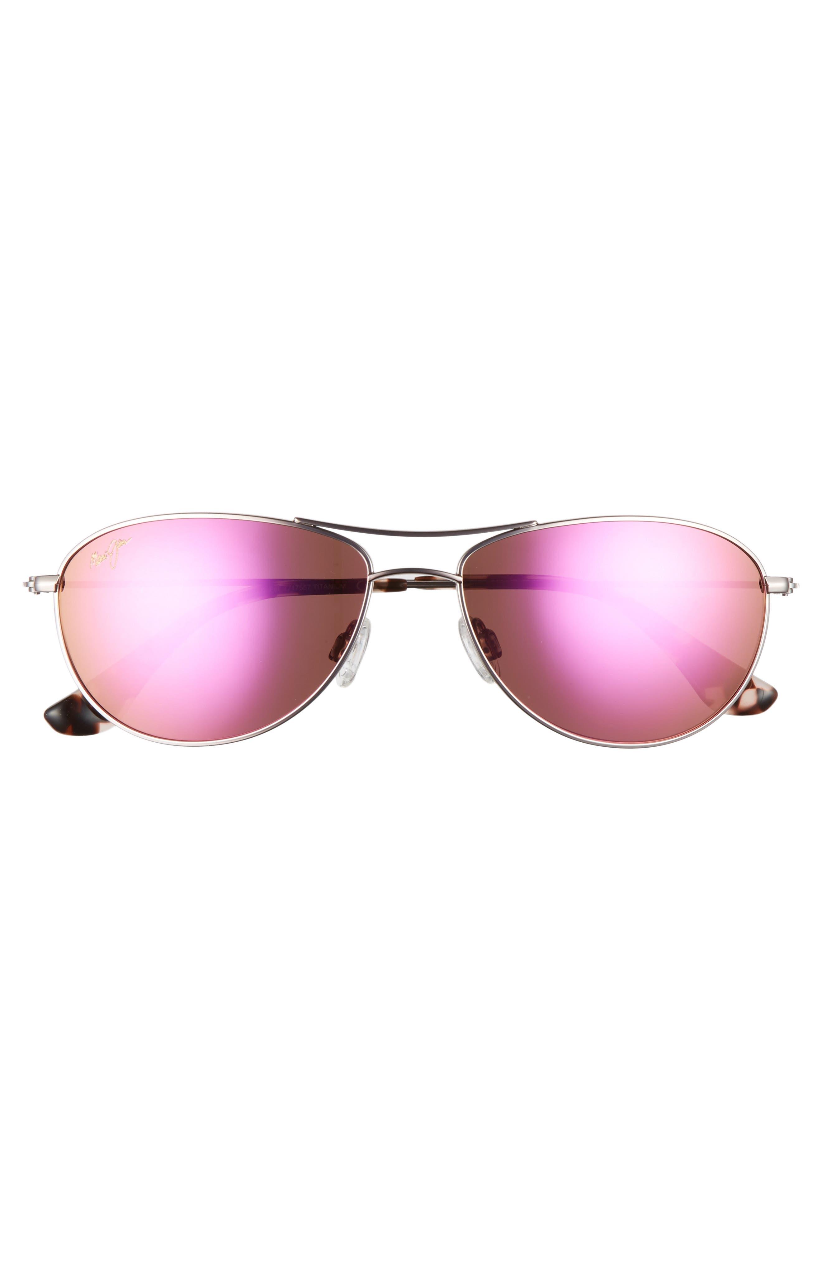 Baby Beach 56mm Mirrored PolarizedPlus2<sup>®</sup> Aviator Sunglasses,                             Alternate thumbnail 3, color,                             ROSE GOLD/ MAUI SUNRISE