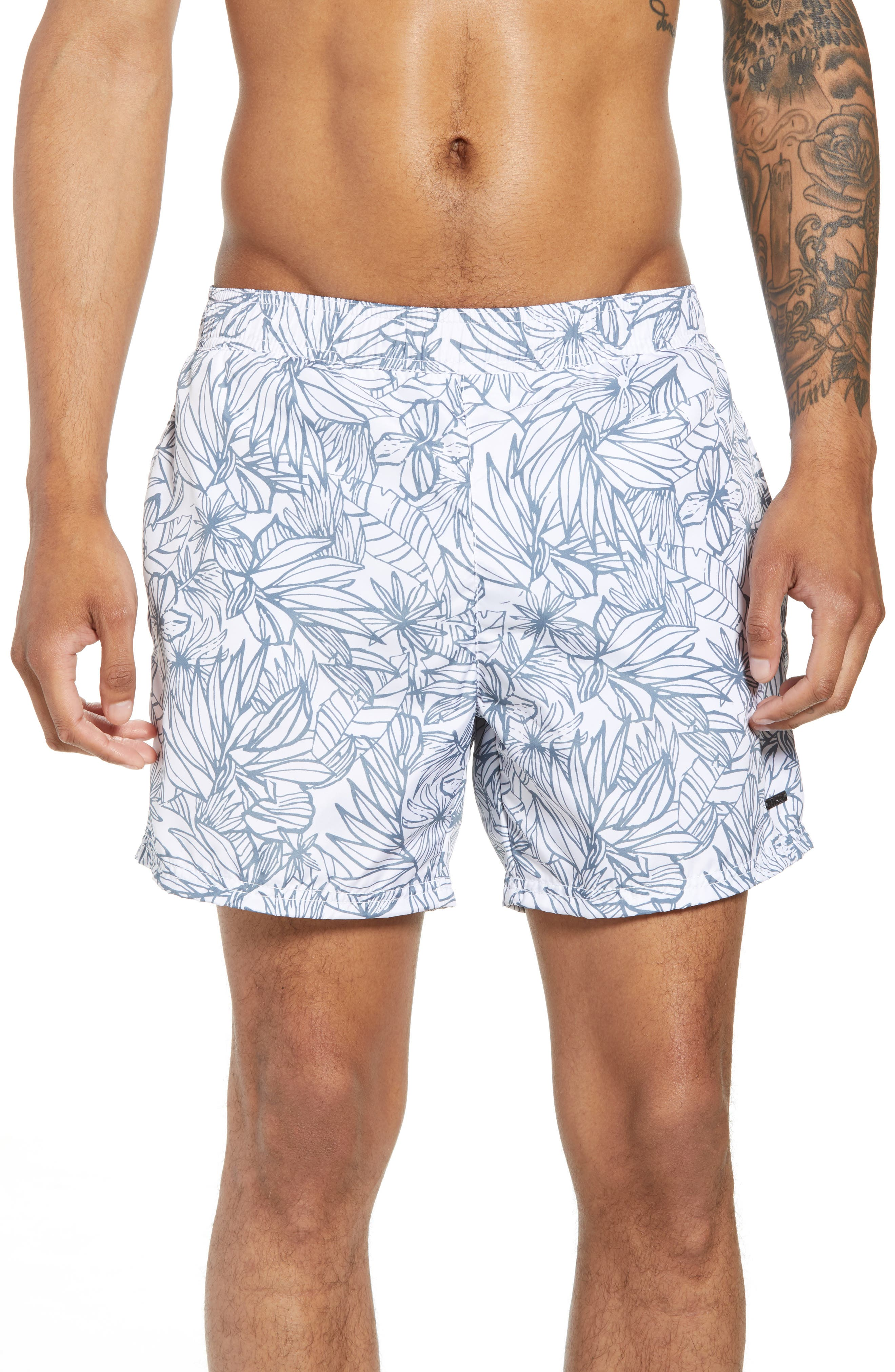 Needlefish Palm Swim Trunks,                         Main,                         color, WHITE