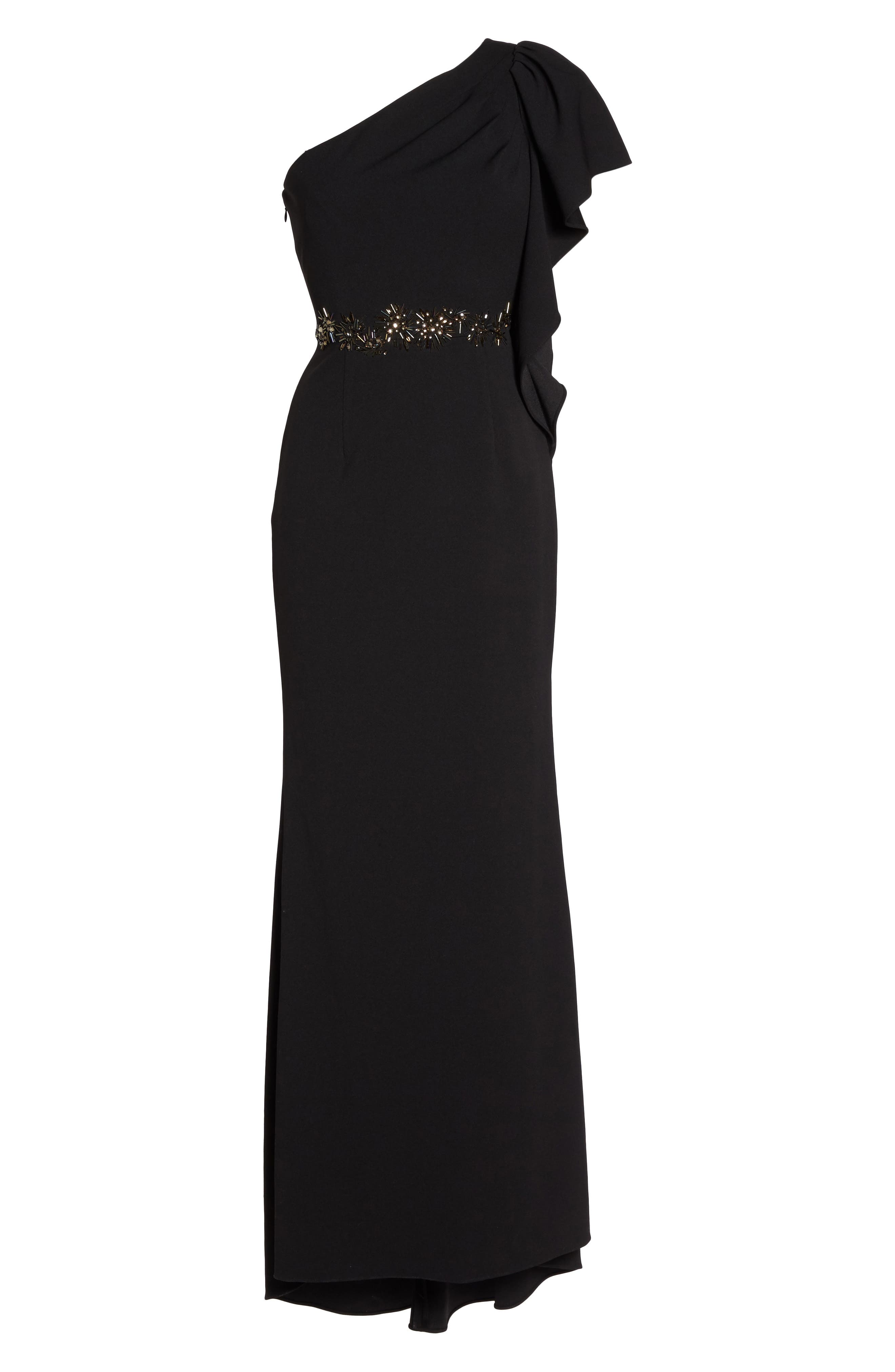 Beaded One-Shoulder Crepe Gown,                             Alternate thumbnail 6, color,