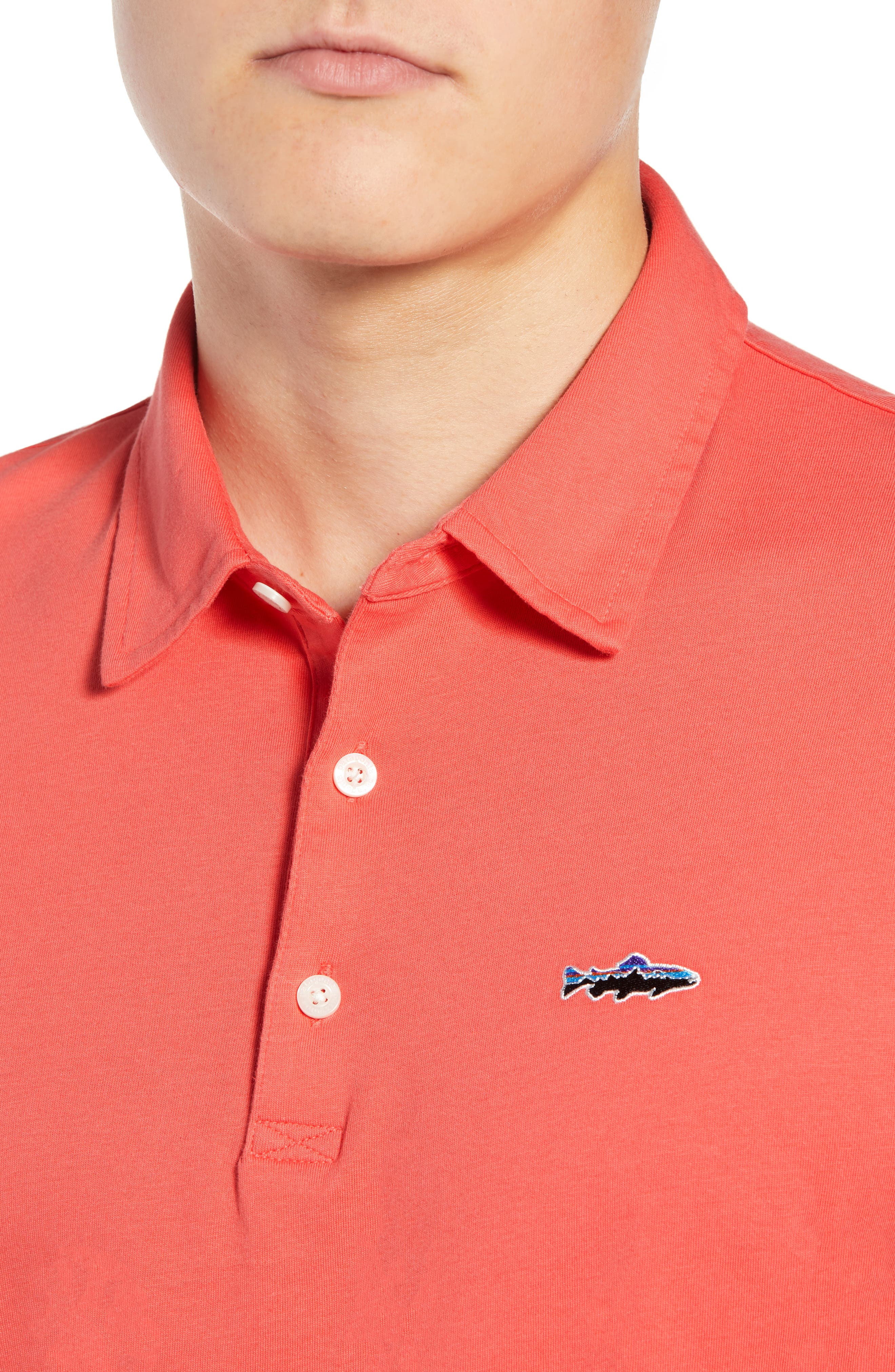 'Trout Fitz Roy' Organic Cotton Polo,                             Alternate thumbnail 4, color,                             SPICED CORAL
