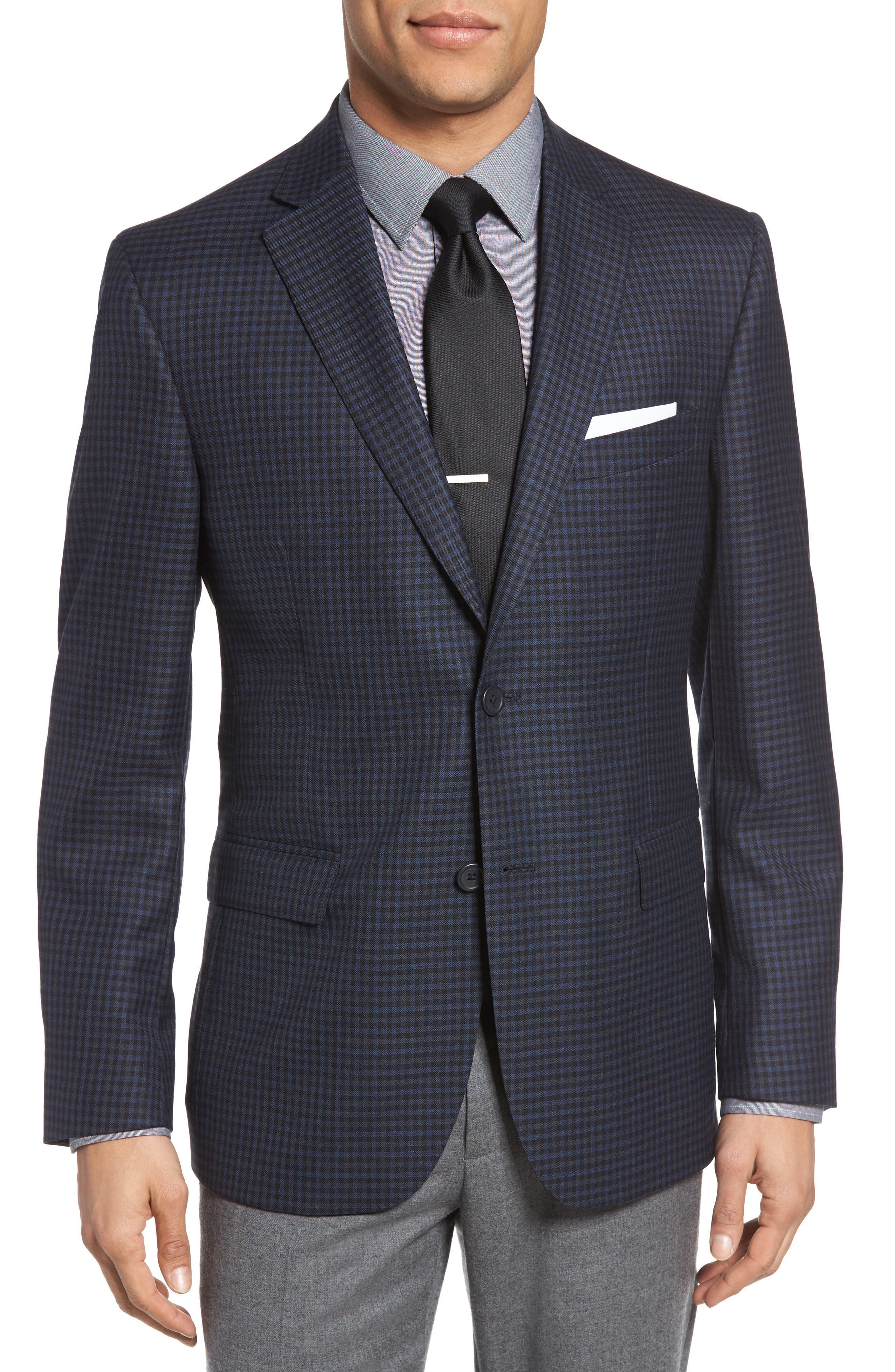Classic Fit Check Wool Sport Coat,                             Main thumbnail 1, color,