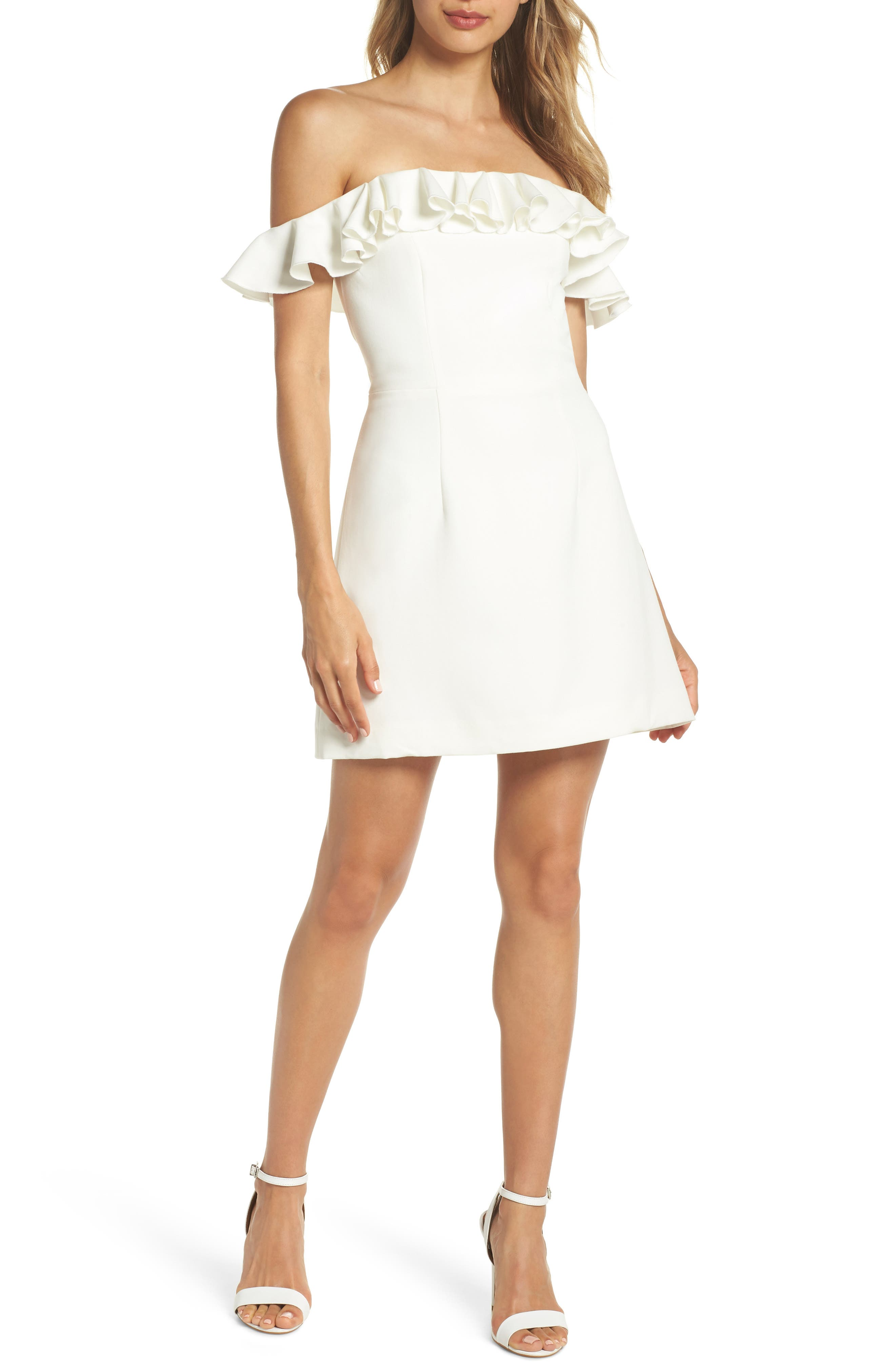 French Connection Whisper Light Off The Shoulder Ruffle Dress, White