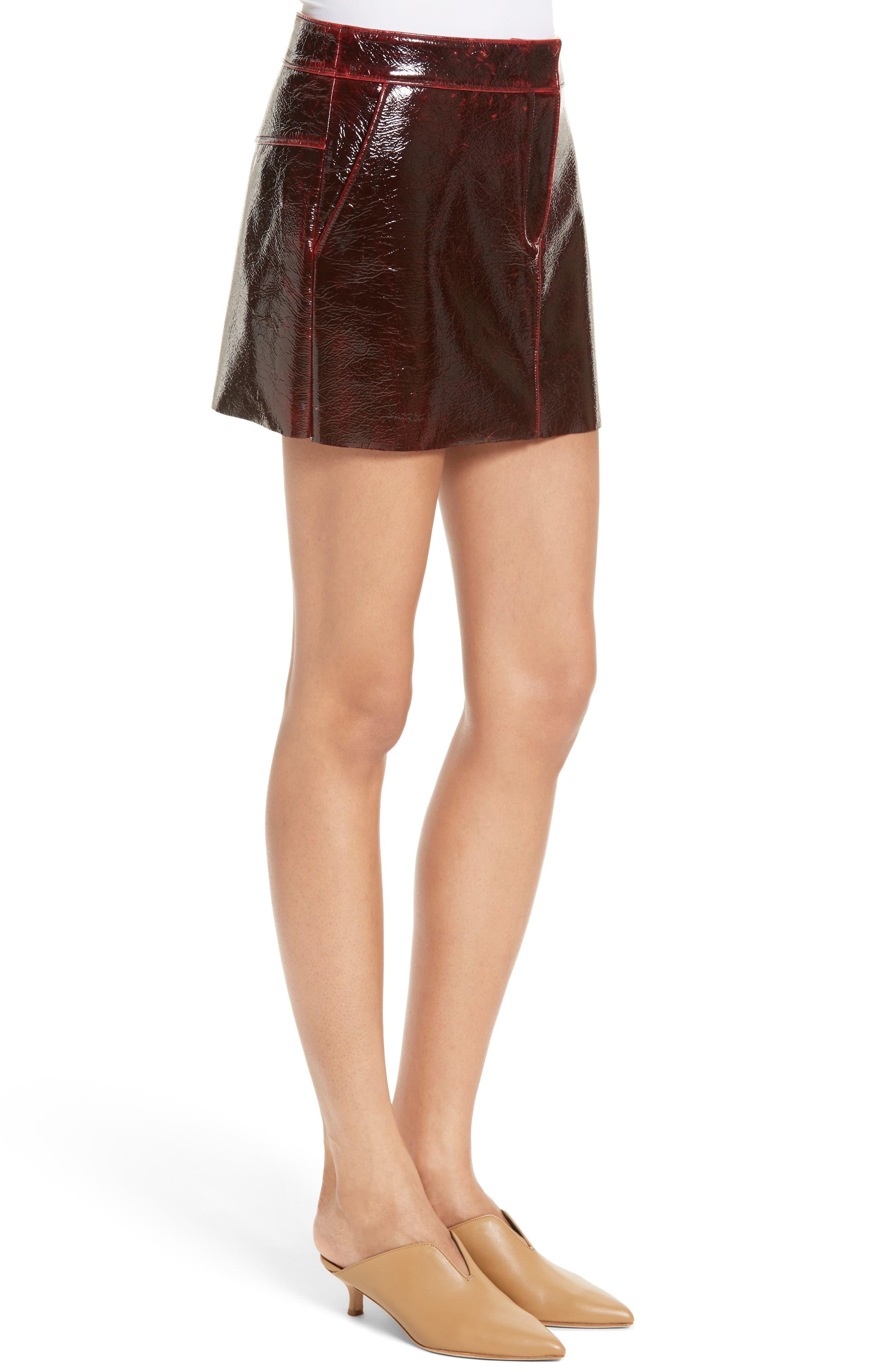 Patent Coated Wool Blend Miniskirt,                             Alternate thumbnail 3, color,                             651