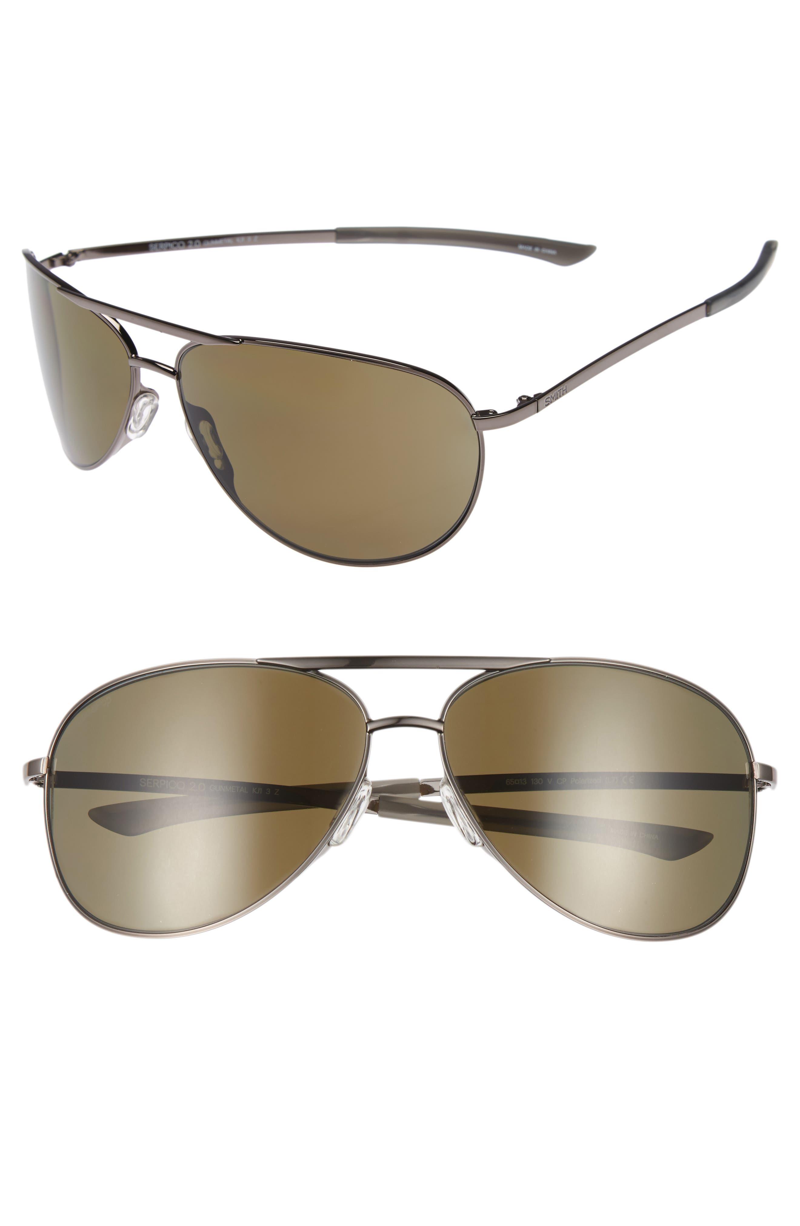 SMITH Serpico Slim 2.0 65mm ChromaPop<sup>™</sup> Polarized Aviator Sunglasses, Main, color, 040