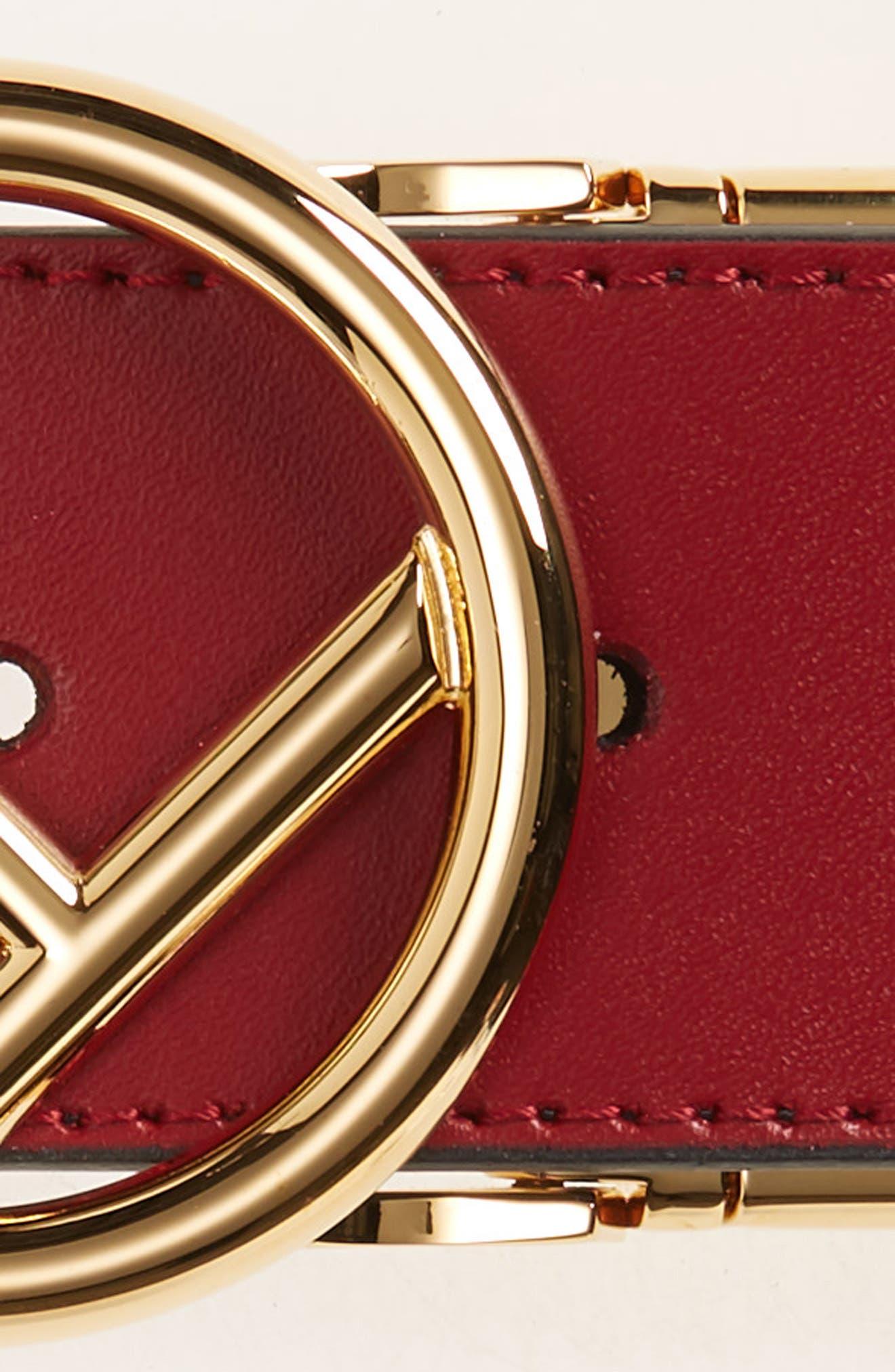 FENDI,                             F Is For Fendi Reversible Leather Belt,                             Alternate thumbnail 4, color,                             RED