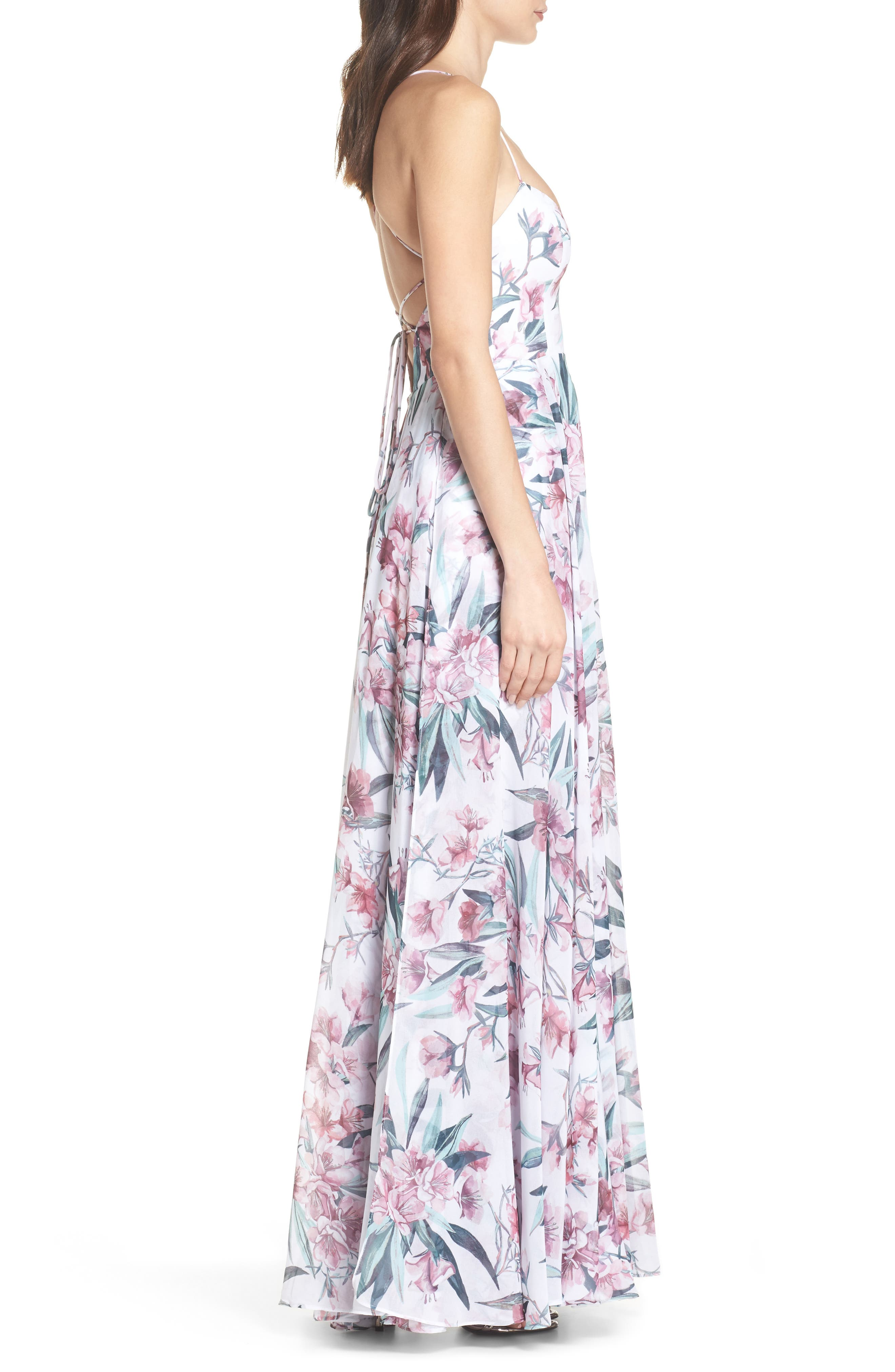Khoo Floral Gown,                             Alternate thumbnail 3, color,                             100