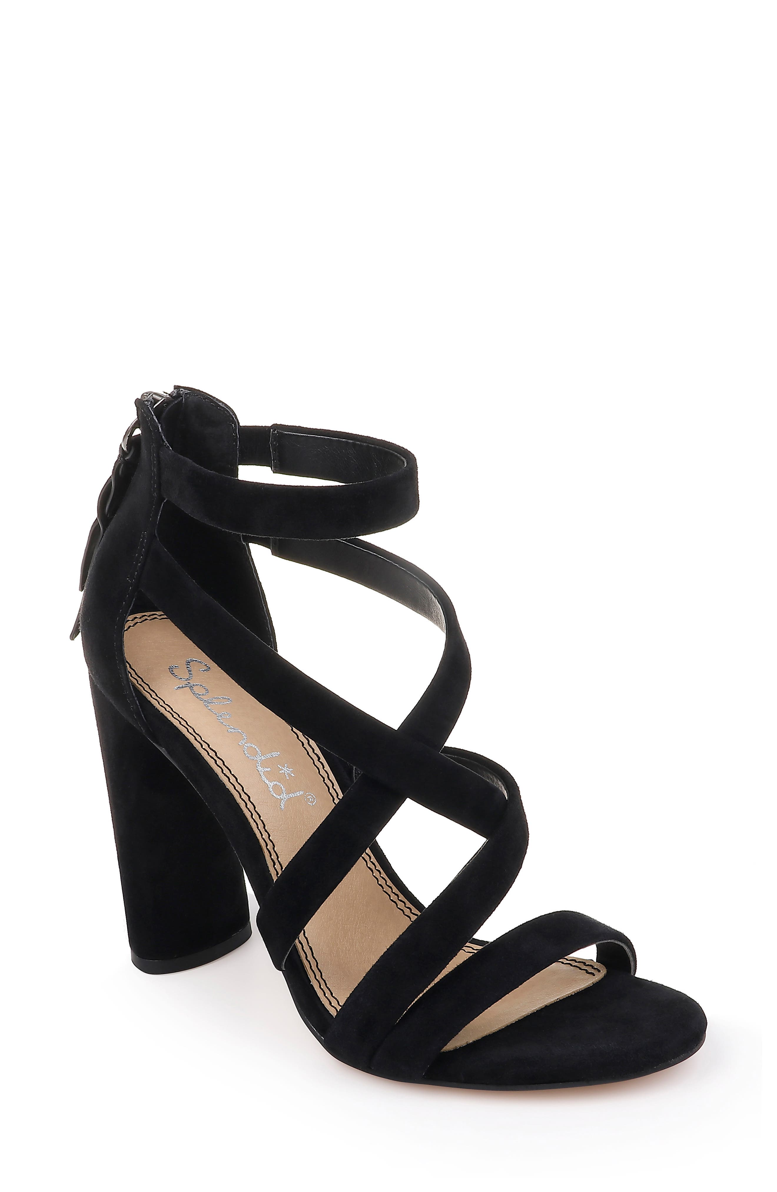 Stuart Block Heel Sandal,                             Main thumbnail 1, color,                             BLACK SUEDE