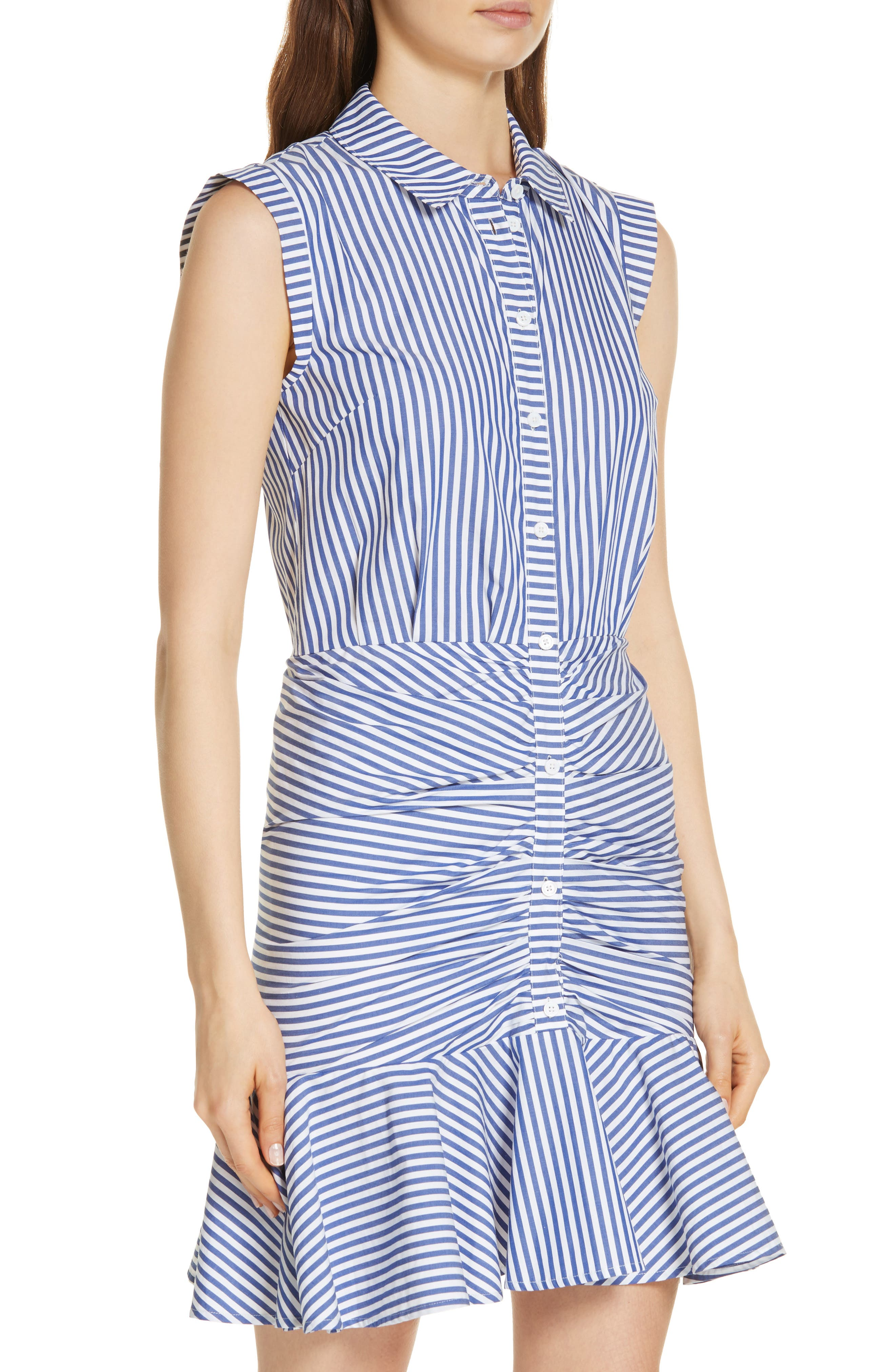 Bell Stripe Ruched Shirtdress,                             Alternate thumbnail 6, color,                             400