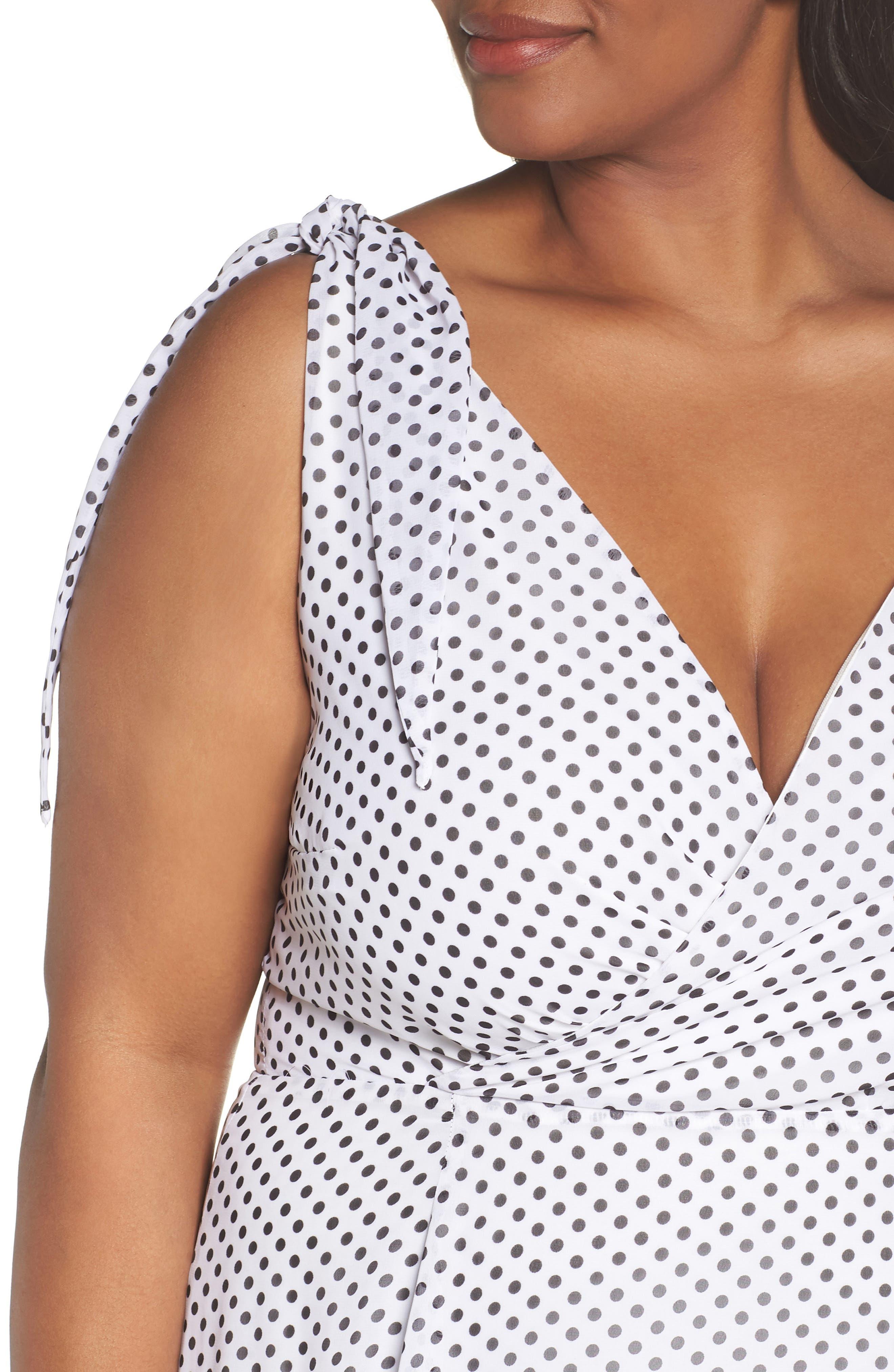 Alika Dot Fit & Flare Dress,                             Alternate thumbnail 4, color,                             IVORY