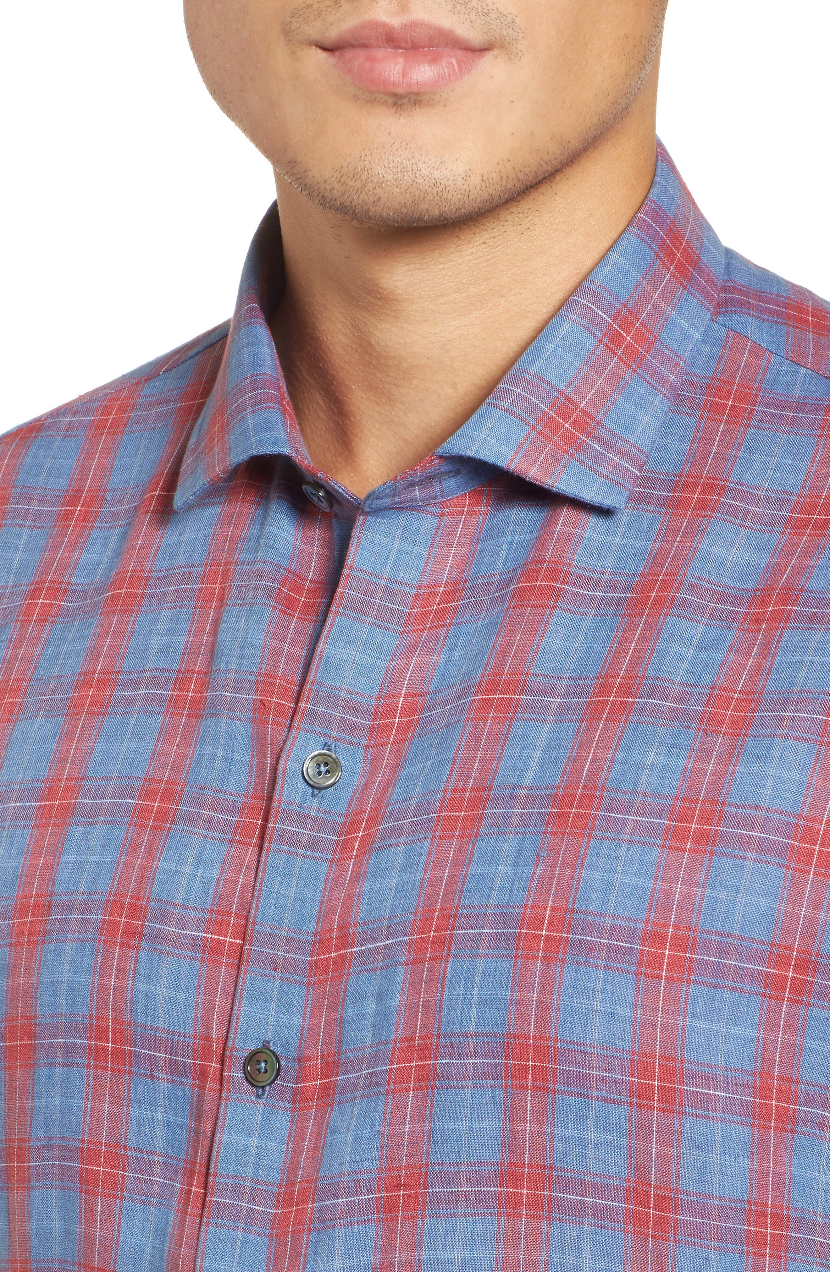 Liam Plaid Woven Sport Shirt,                             Alternate thumbnail 4, color,                             RED