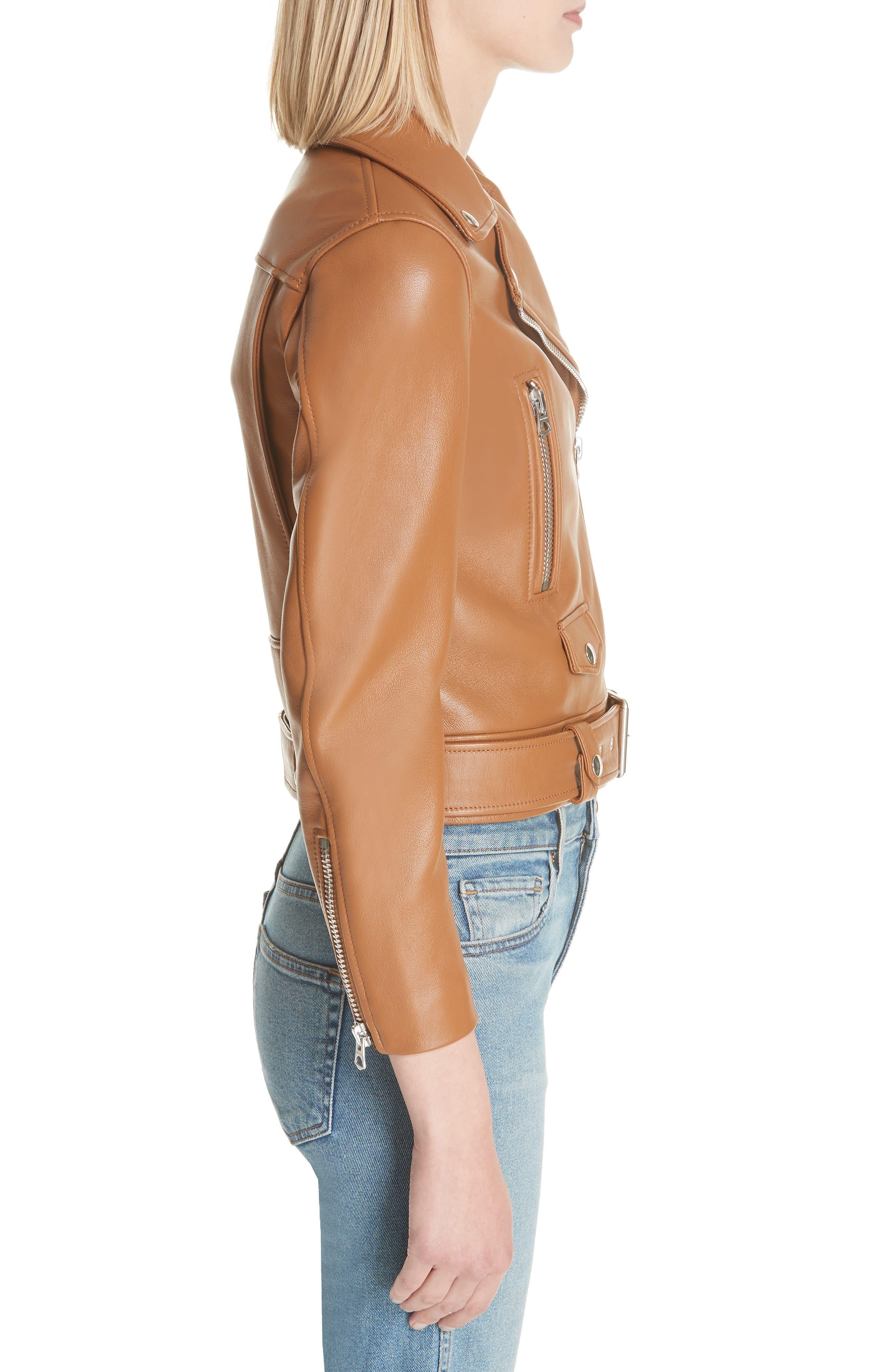 Mock Core Leather Moto Jacket,                             Alternate thumbnail 3, color,                             200