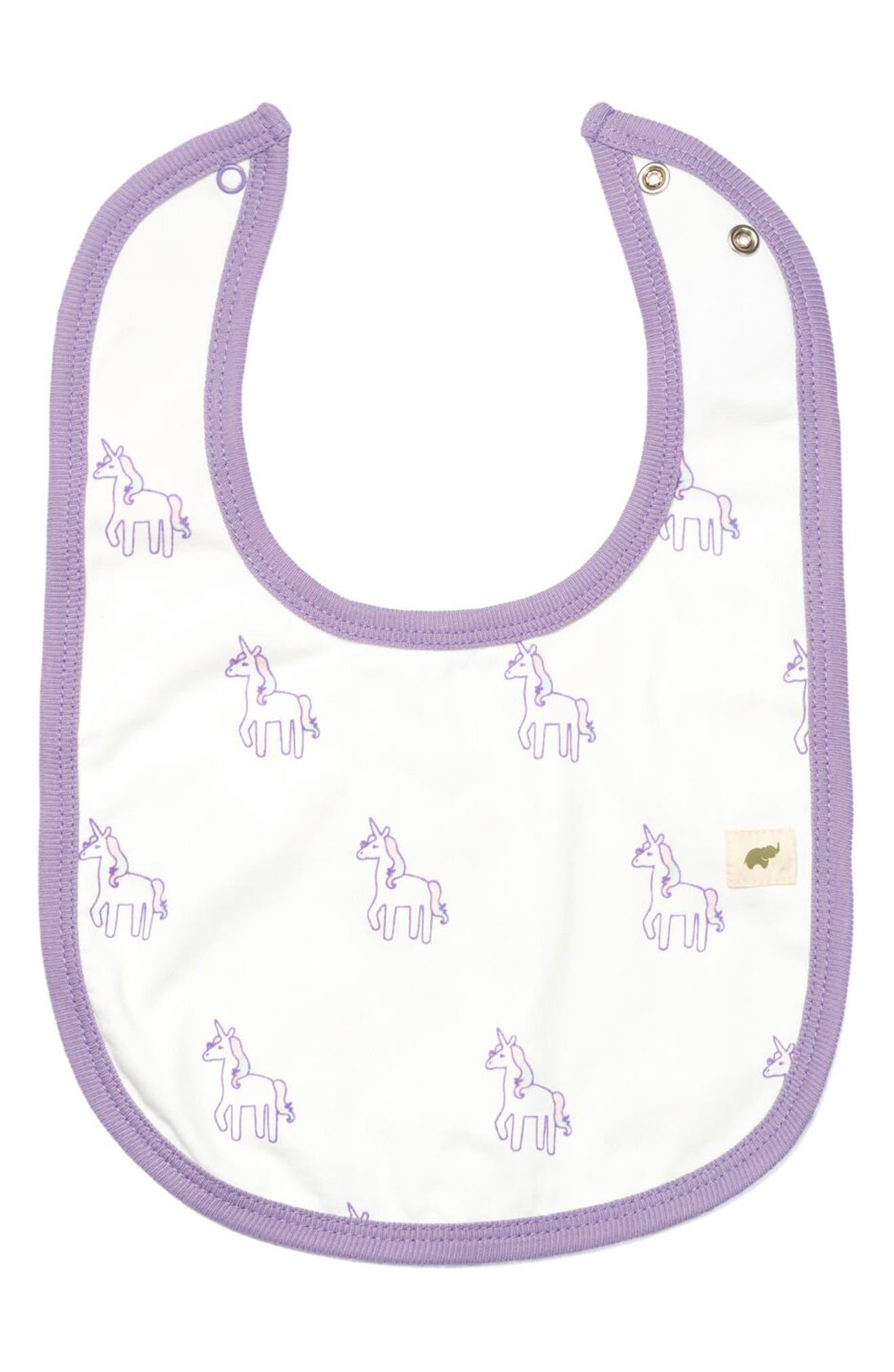 MONICA + ANDY Unicorn Print Organic Stretch Cotton Bib, Main, color, OMBRE UNICORN