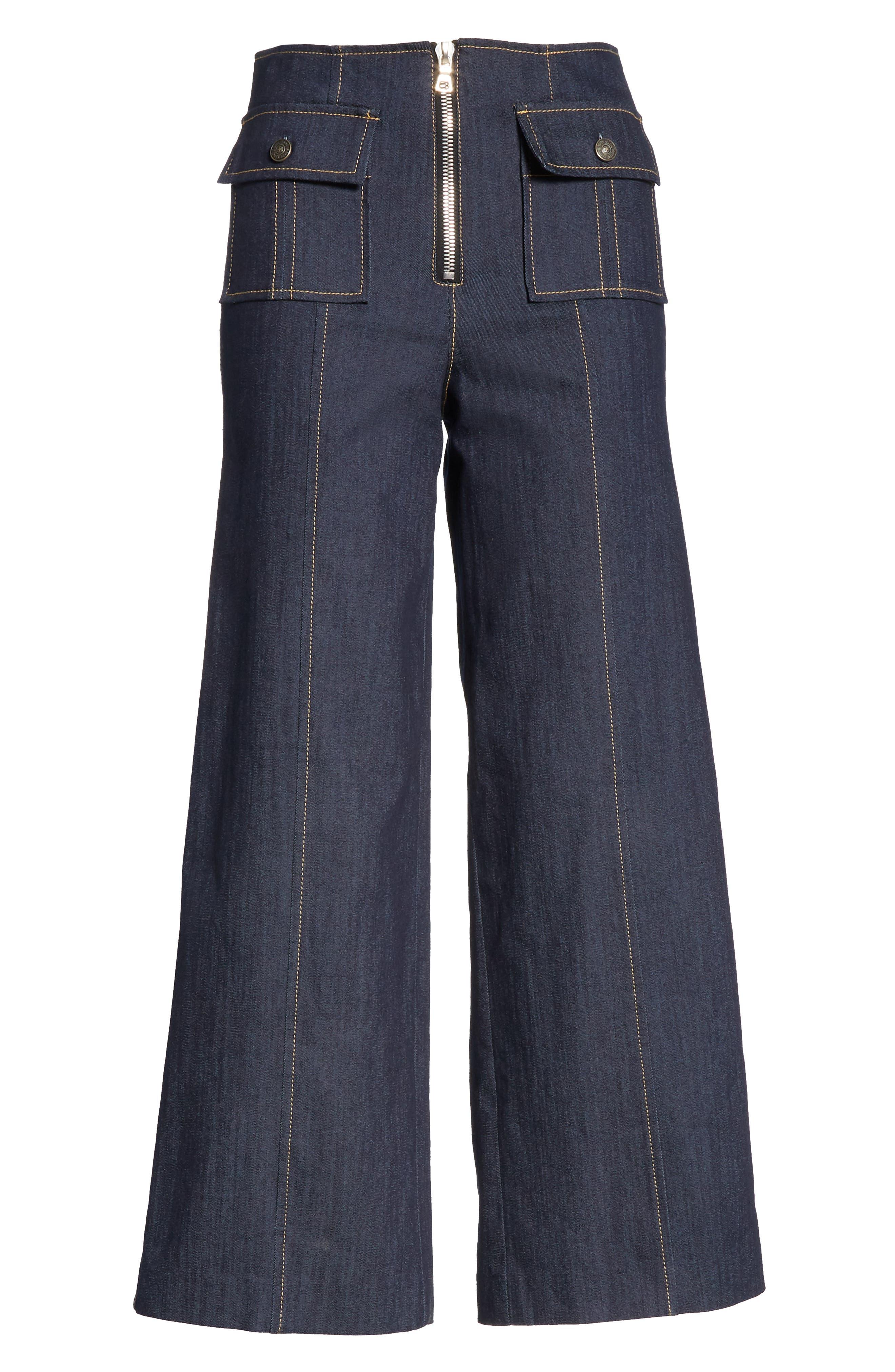 Azure Crop Wide Leg Jeans,                             Alternate thumbnail 6, color,                             INDIGO