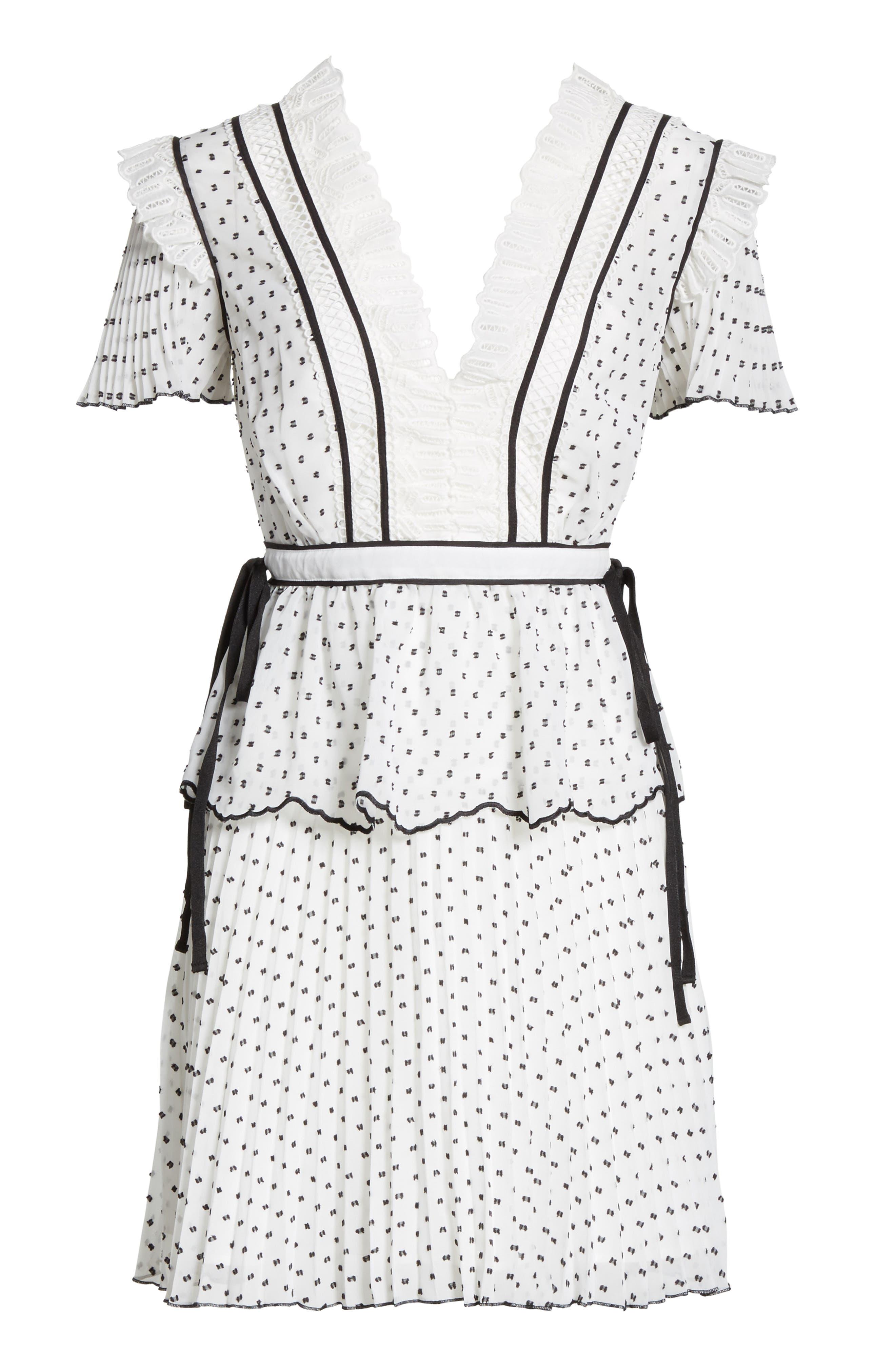 Pleated Plumetis Dress,                             Alternate thumbnail 6, color,                             100
