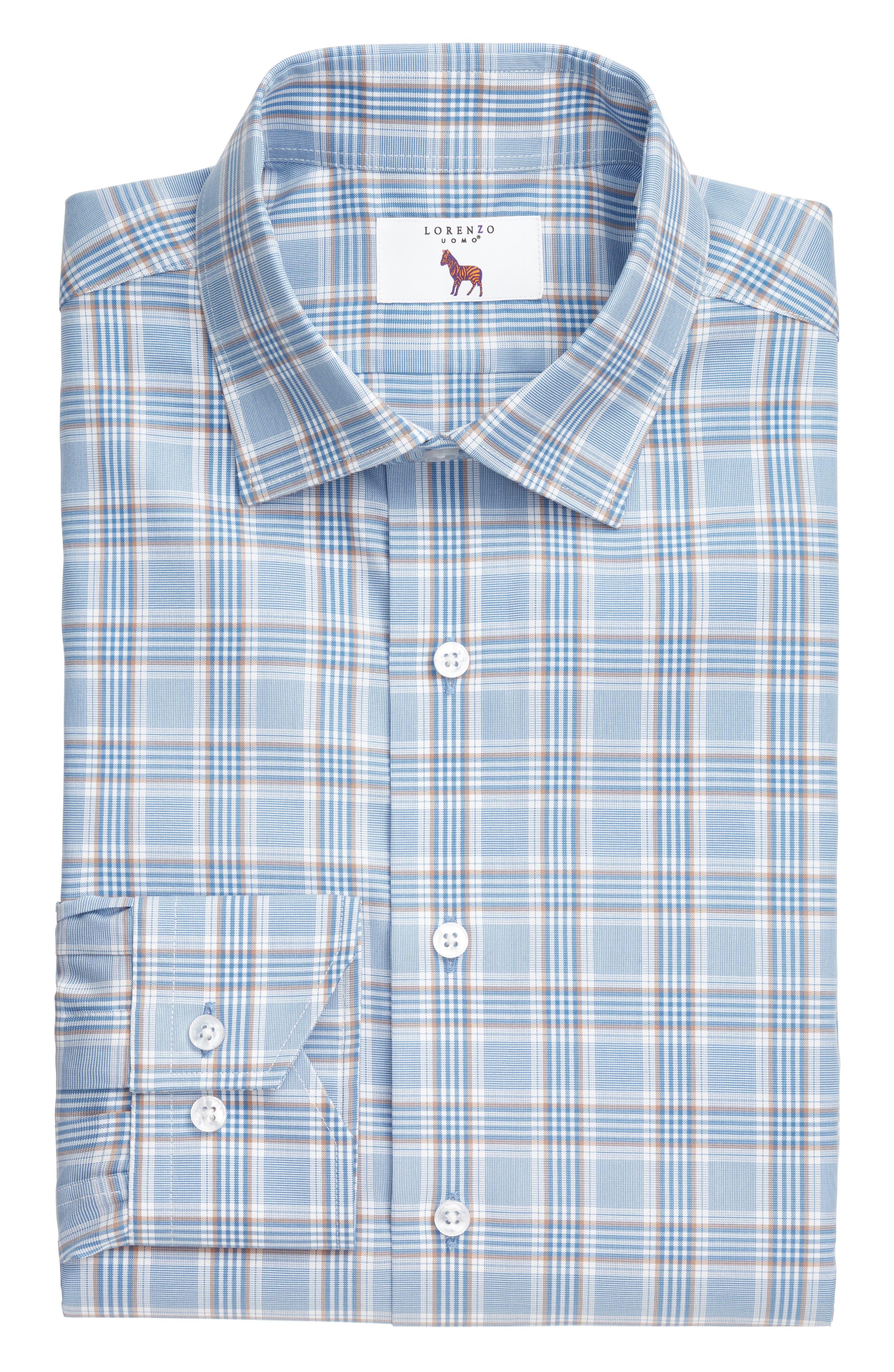 Trim Fit Plaid Dress Shirt,                             Alternate thumbnail 3, color,                             LIGHT BLUE