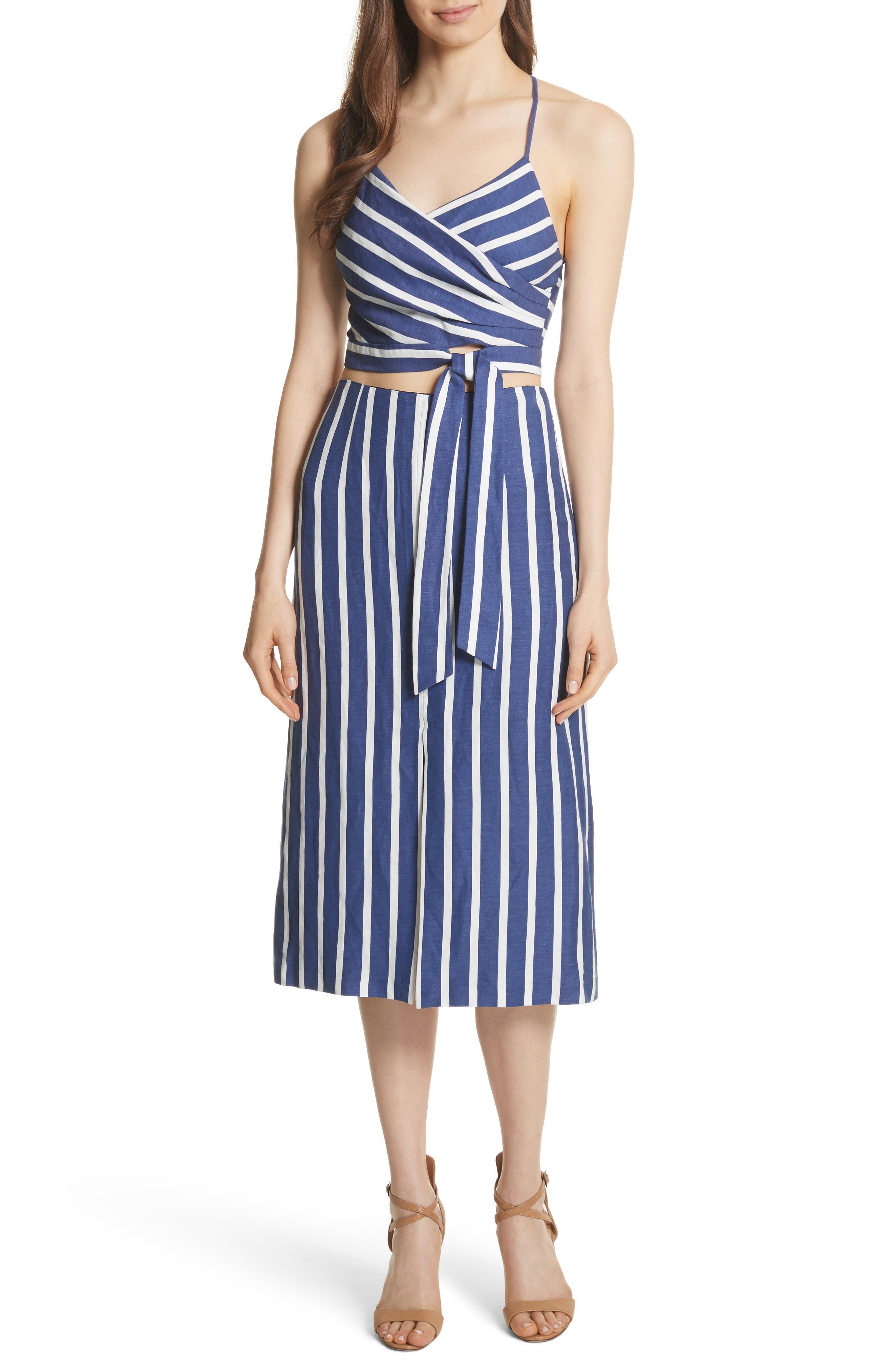 Sabrena Stripe Front Slit Linen Blend Midi Skirt,                             Alternate thumbnail 7, color,                             475