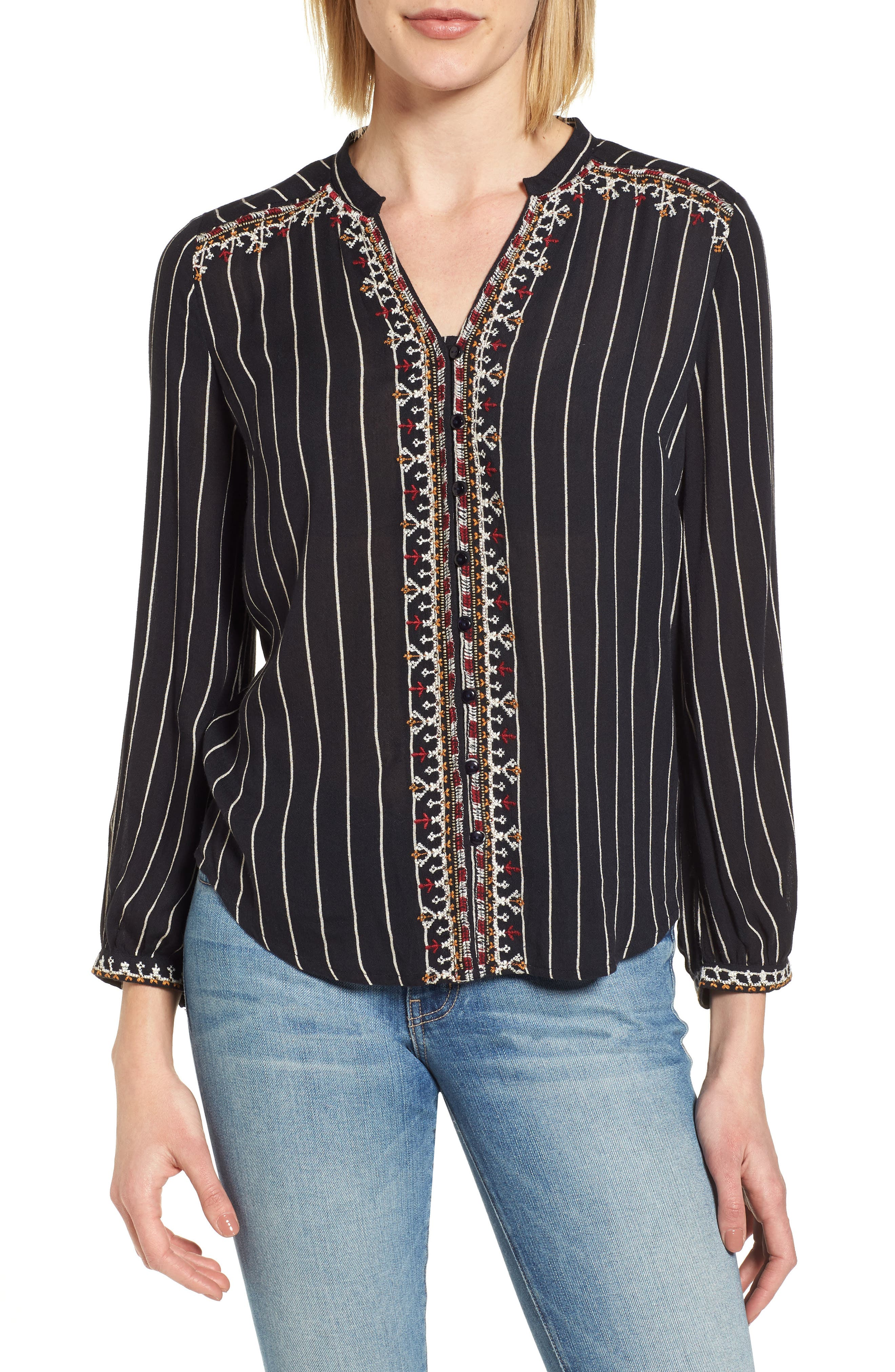 VELVET BY GRAHAM & SPENCER Embroidered Top, Main, color, STRIPE