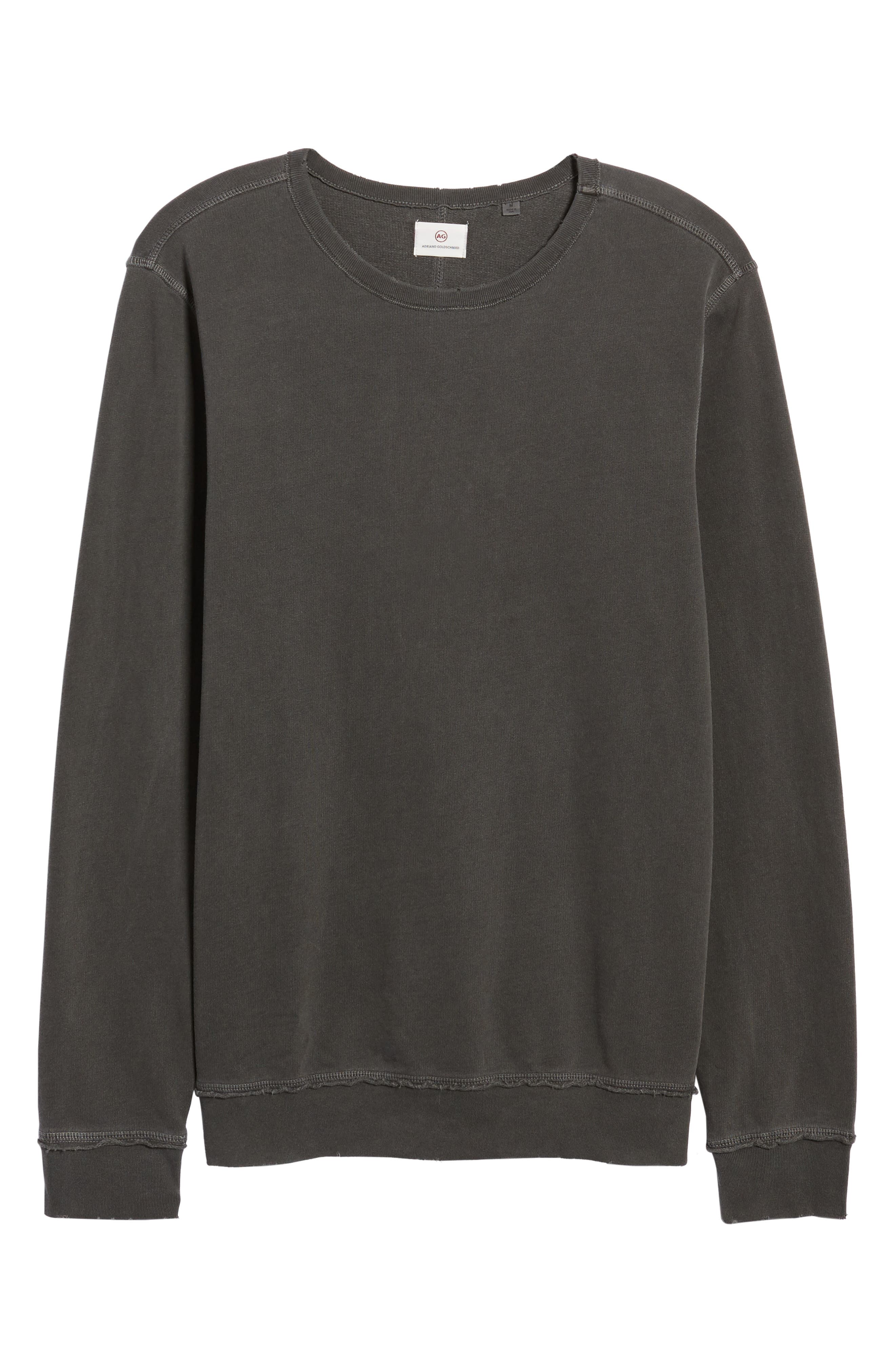 Brendan Raw Edge Crewneck Sweatshirt,                             Alternate thumbnail 6, color,                             001