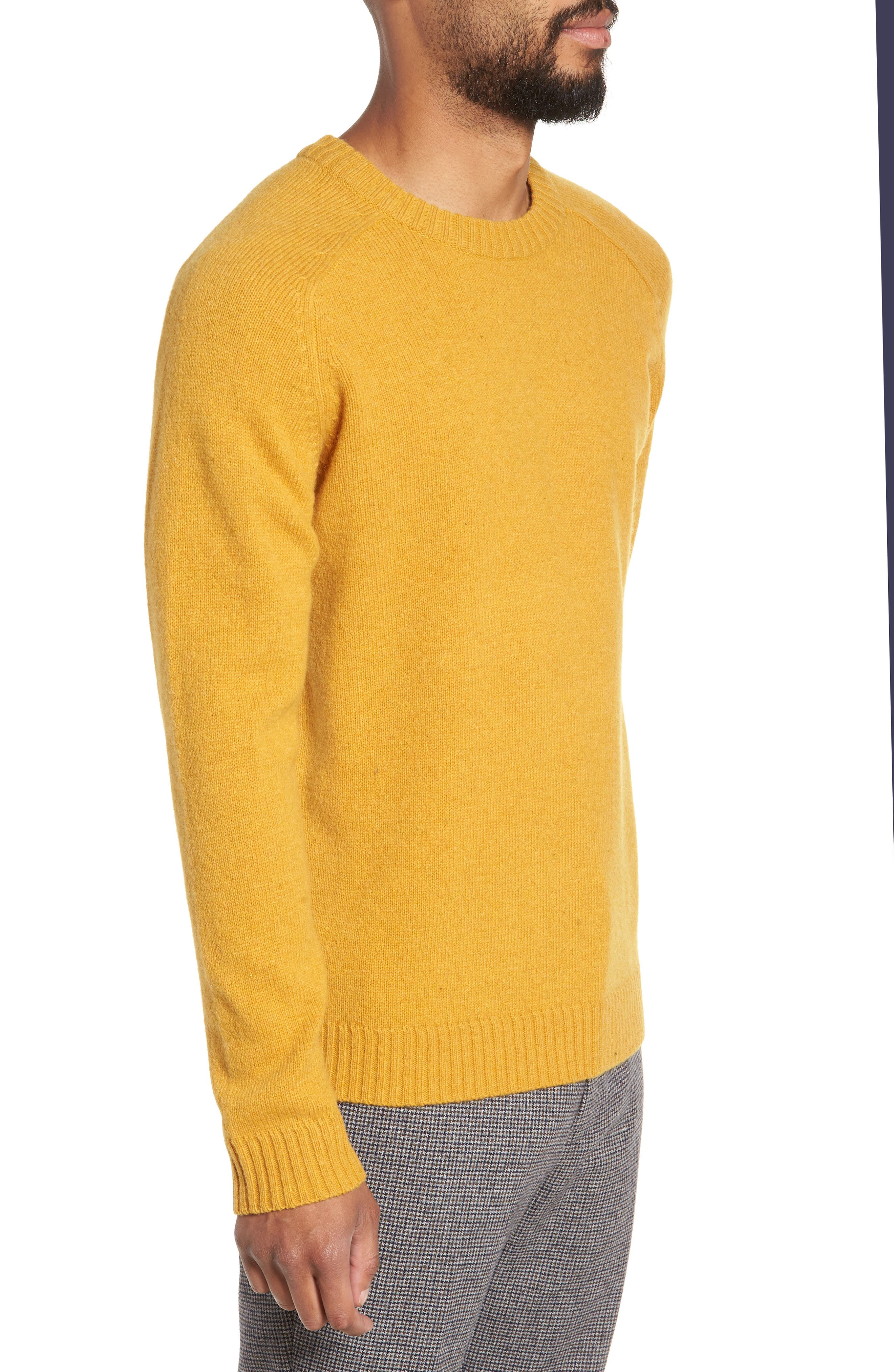 New Coban Regular Fit Wool Sweater,                             Alternate thumbnail 3, color,                             CURRY