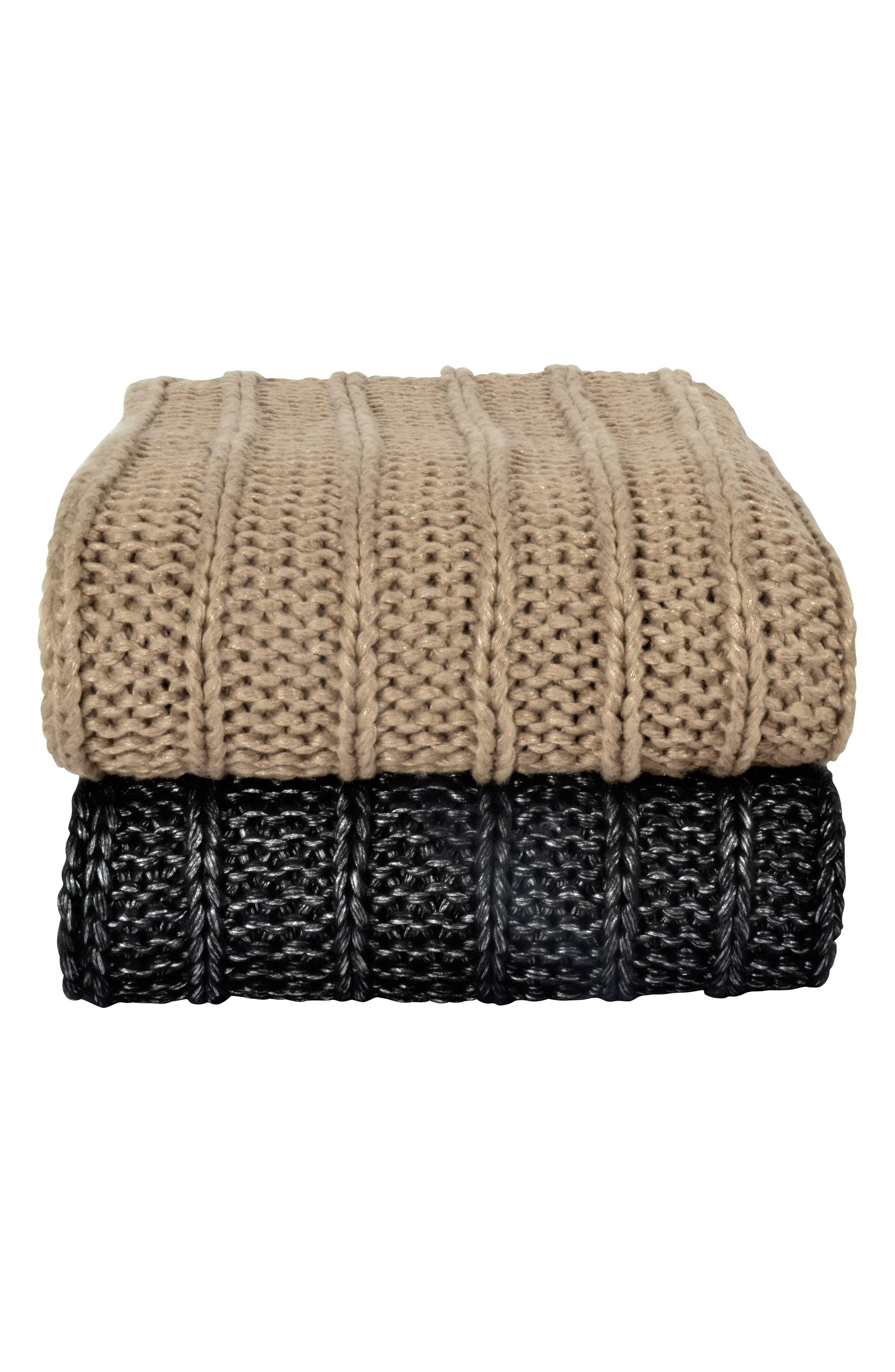 Metallic Rib Knit Throw,                             Alternate thumbnail 2, color,                             CHARCOAL