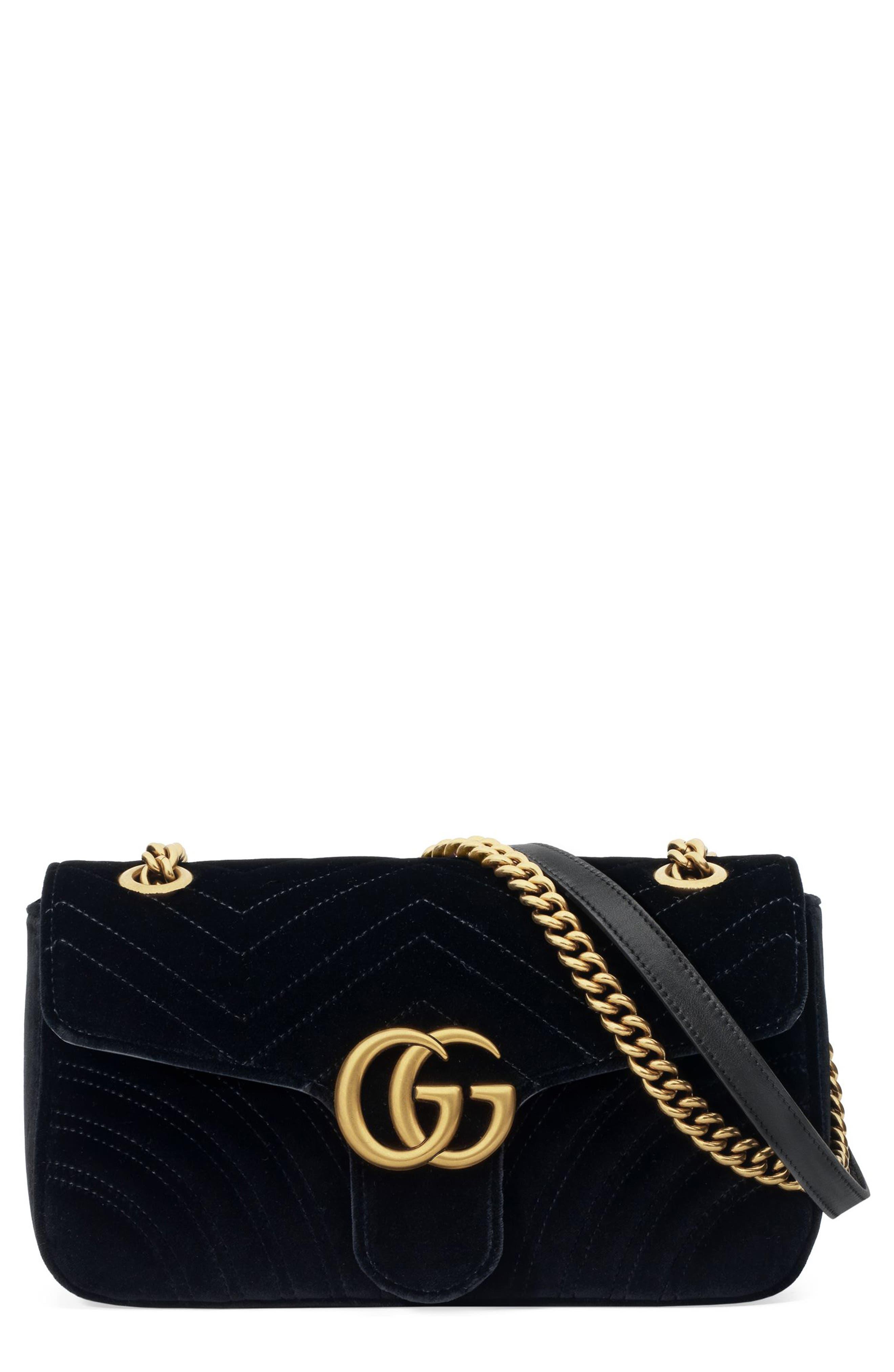 Medium GG Marmont 2.0 Matelassé Velvet Shoulder Bag,                             Main thumbnail 1, color,                             NERO