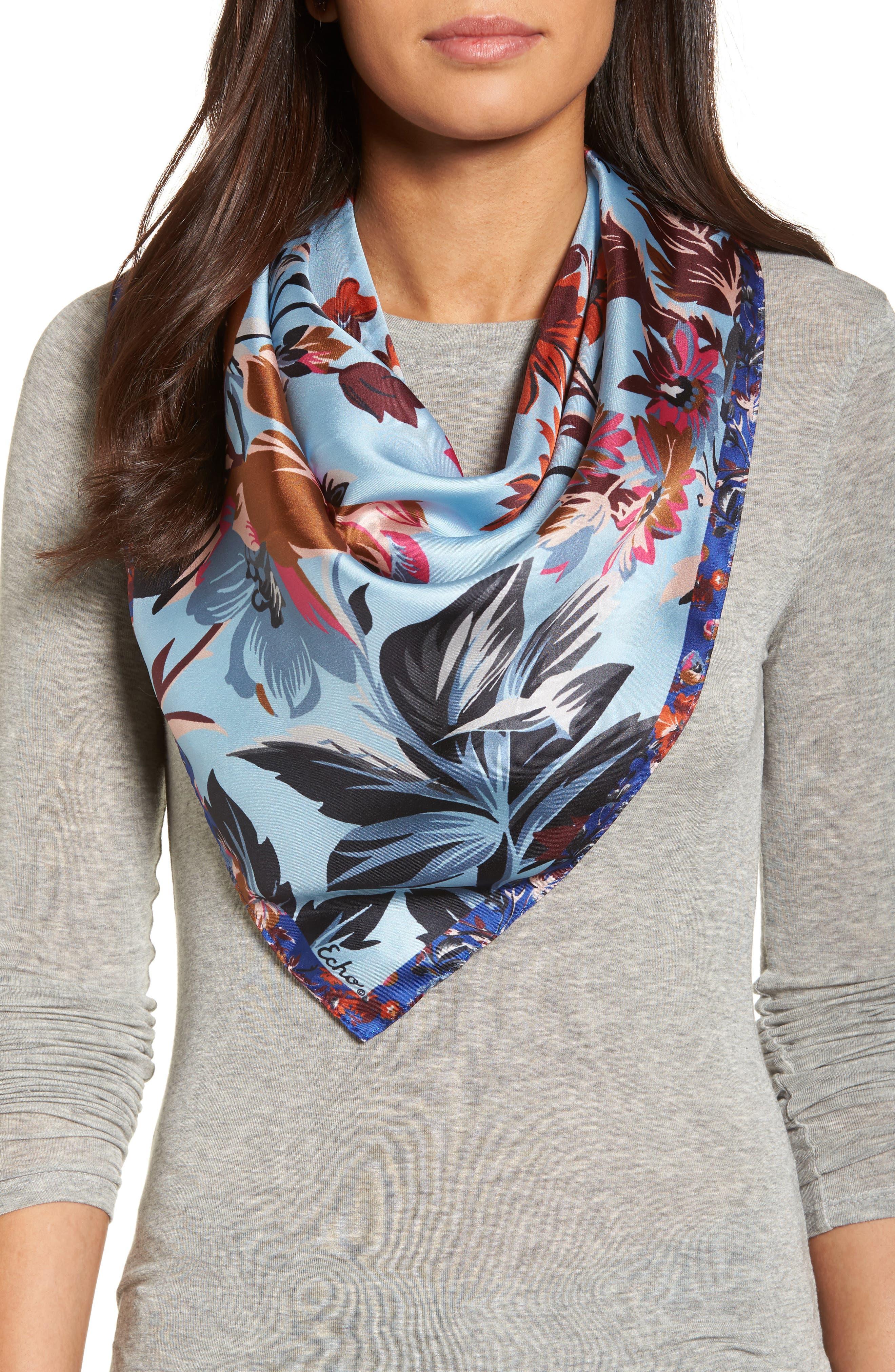Highgate Floral Square Silk Scarf,                             Main thumbnail 2, color,