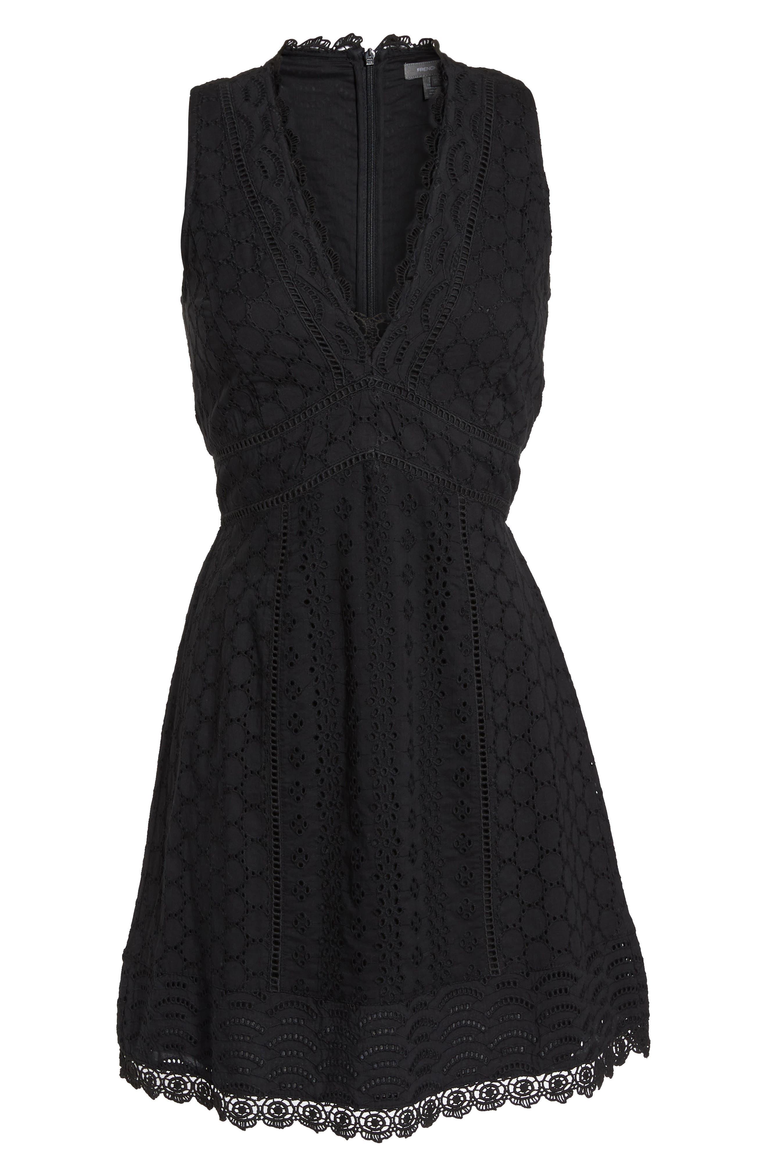 Zahara Eyelet & Lace A-Line Dress,                             Alternate thumbnail 7, color,                             BLACK