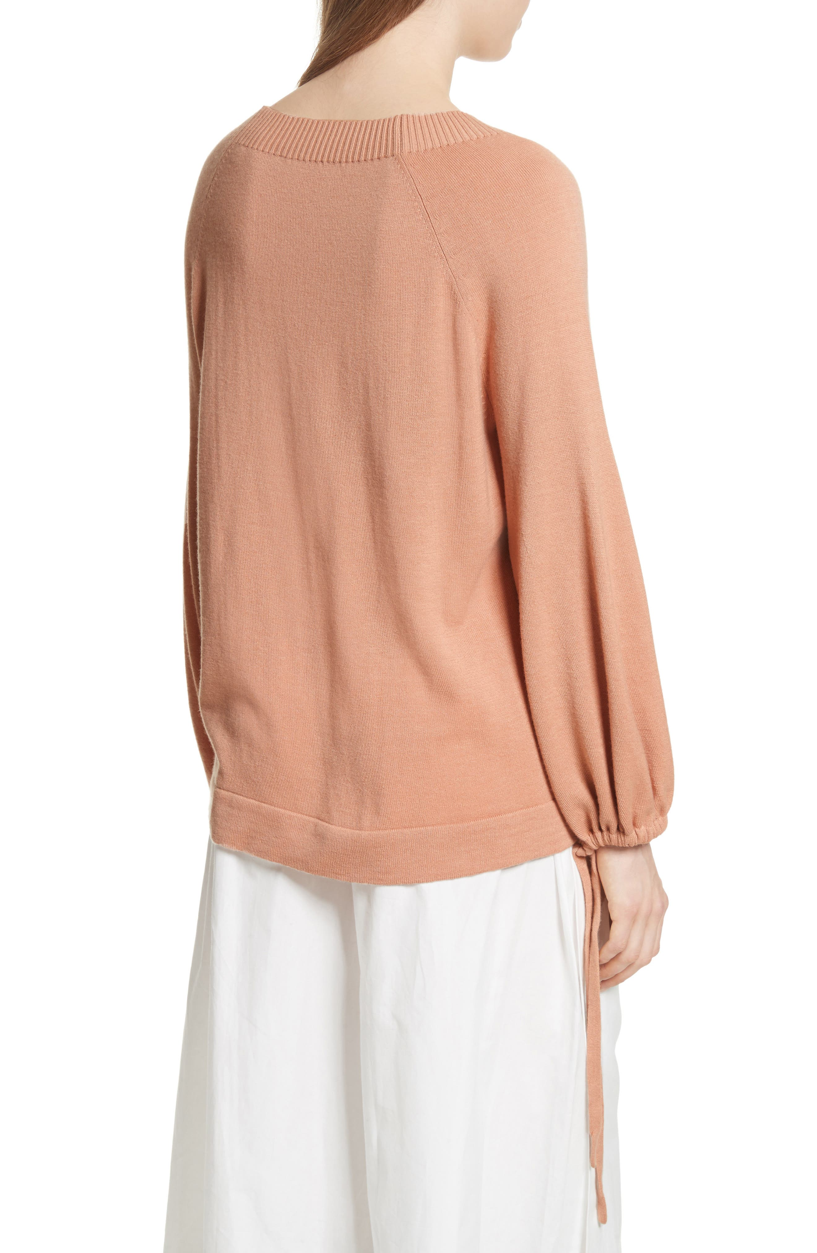 Scrunch Sleeve Cashmere Sweater,                             Alternate thumbnail 4, color,
