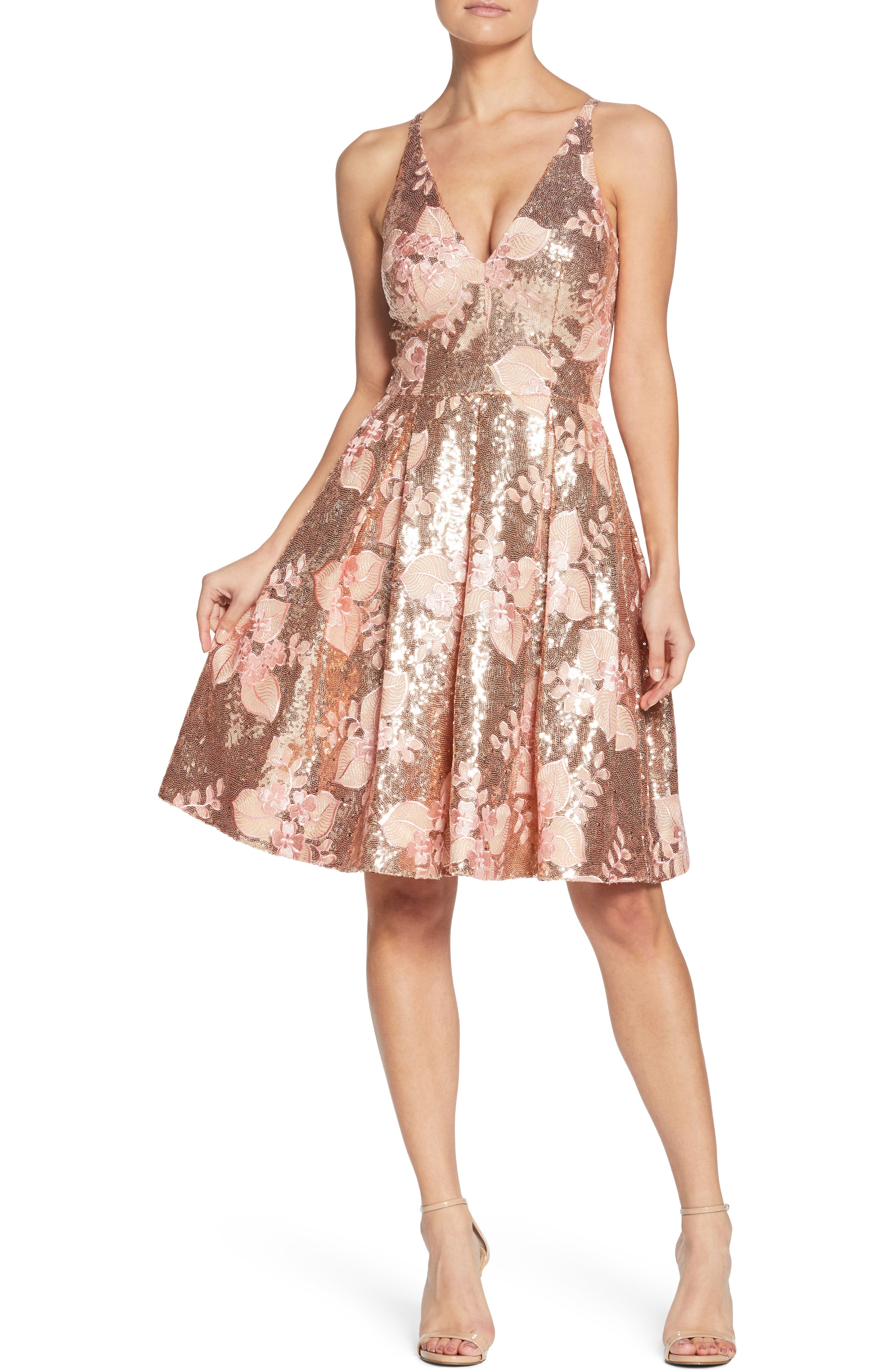 Collette Sequin Fit & Flare Dress,                             Main thumbnail 1, color,                             PINK/ GOLD