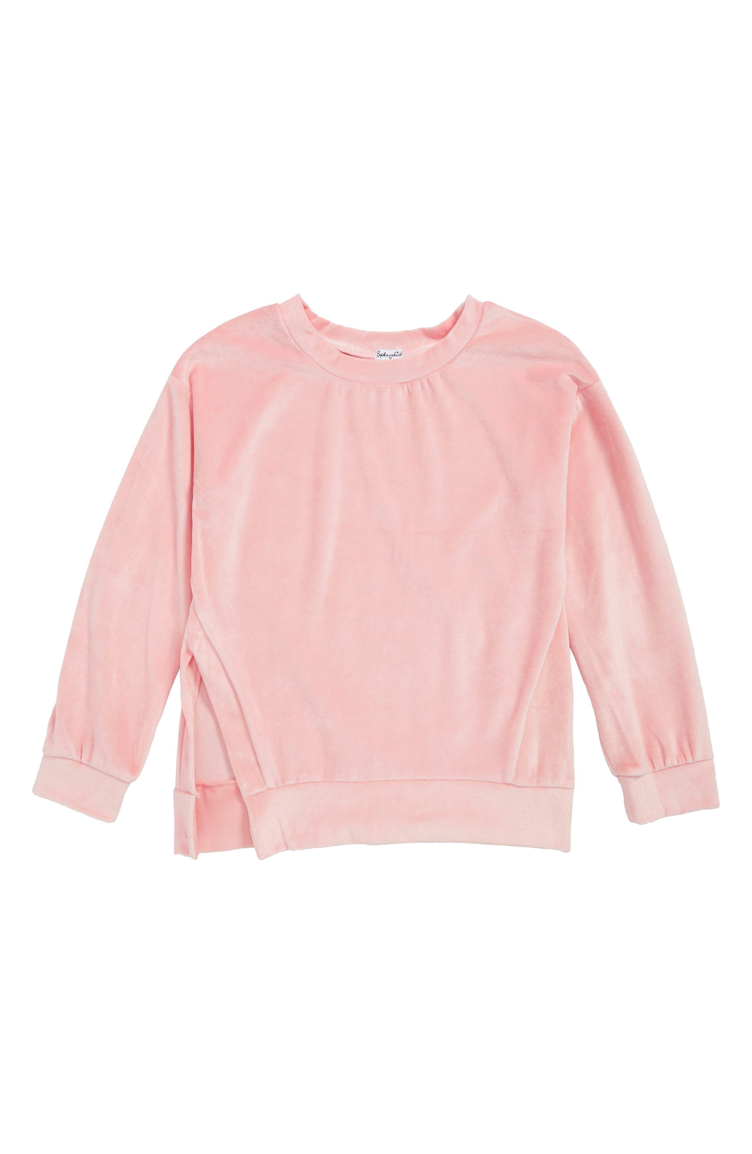 Velour Side Slit Sweatshirt,                             Main thumbnail 1, color,                             630