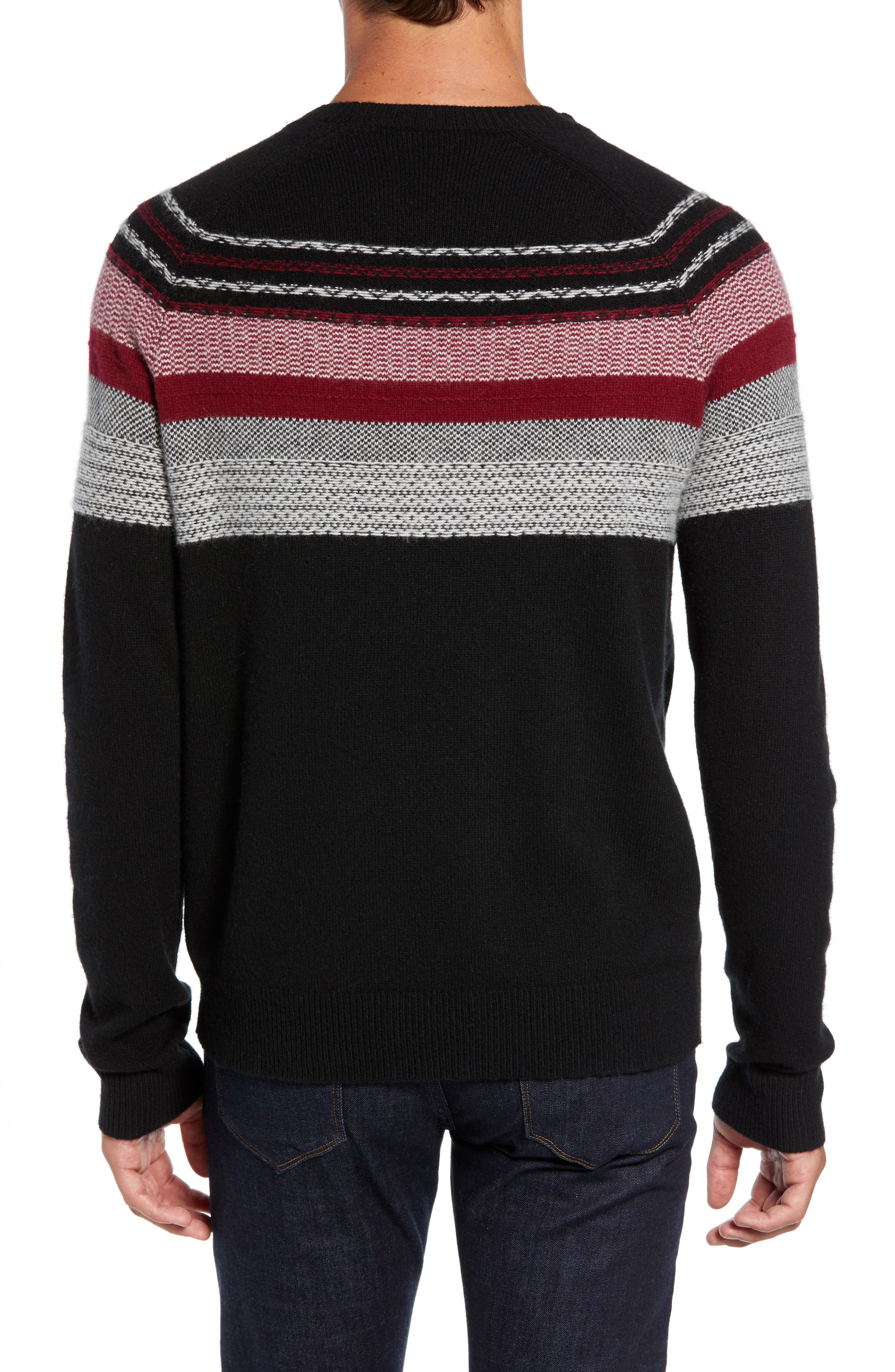 Fair Isle Sweater,                             Alternate thumbnail 2, color,                             BLACK/ RED COMBO