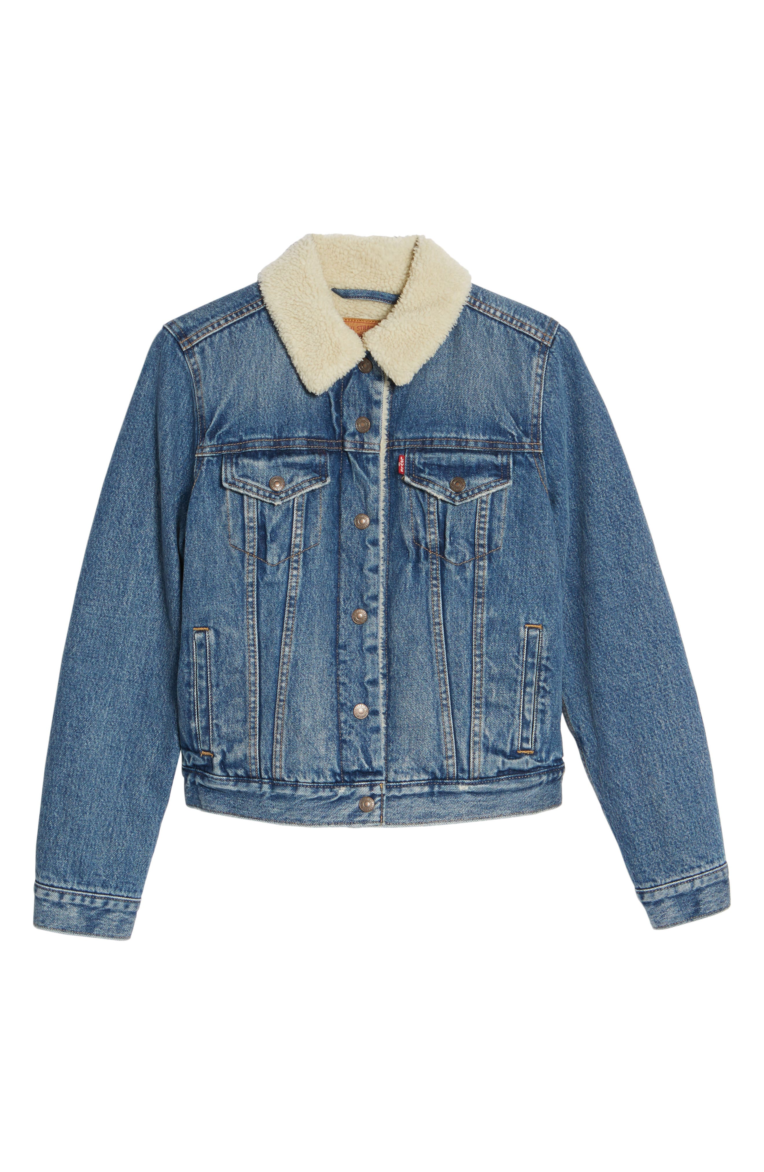 Faux Shearling Lined Denim Trucker Jacket,                             Alternate thumbnail 5, color,                             450