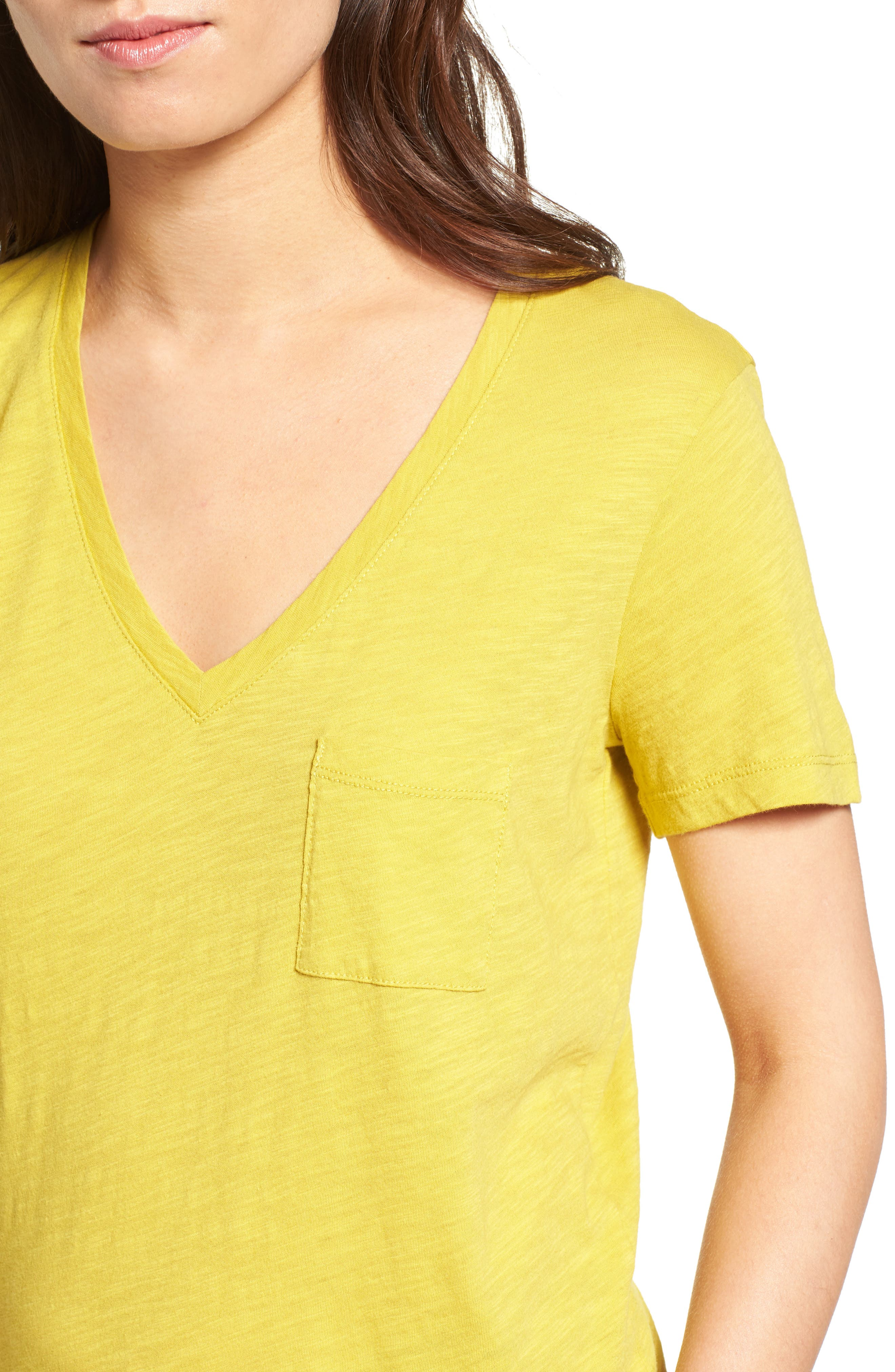Whisper Cotton V-Neck Pocket Tee,                             Alternate thumbnail 148, color,