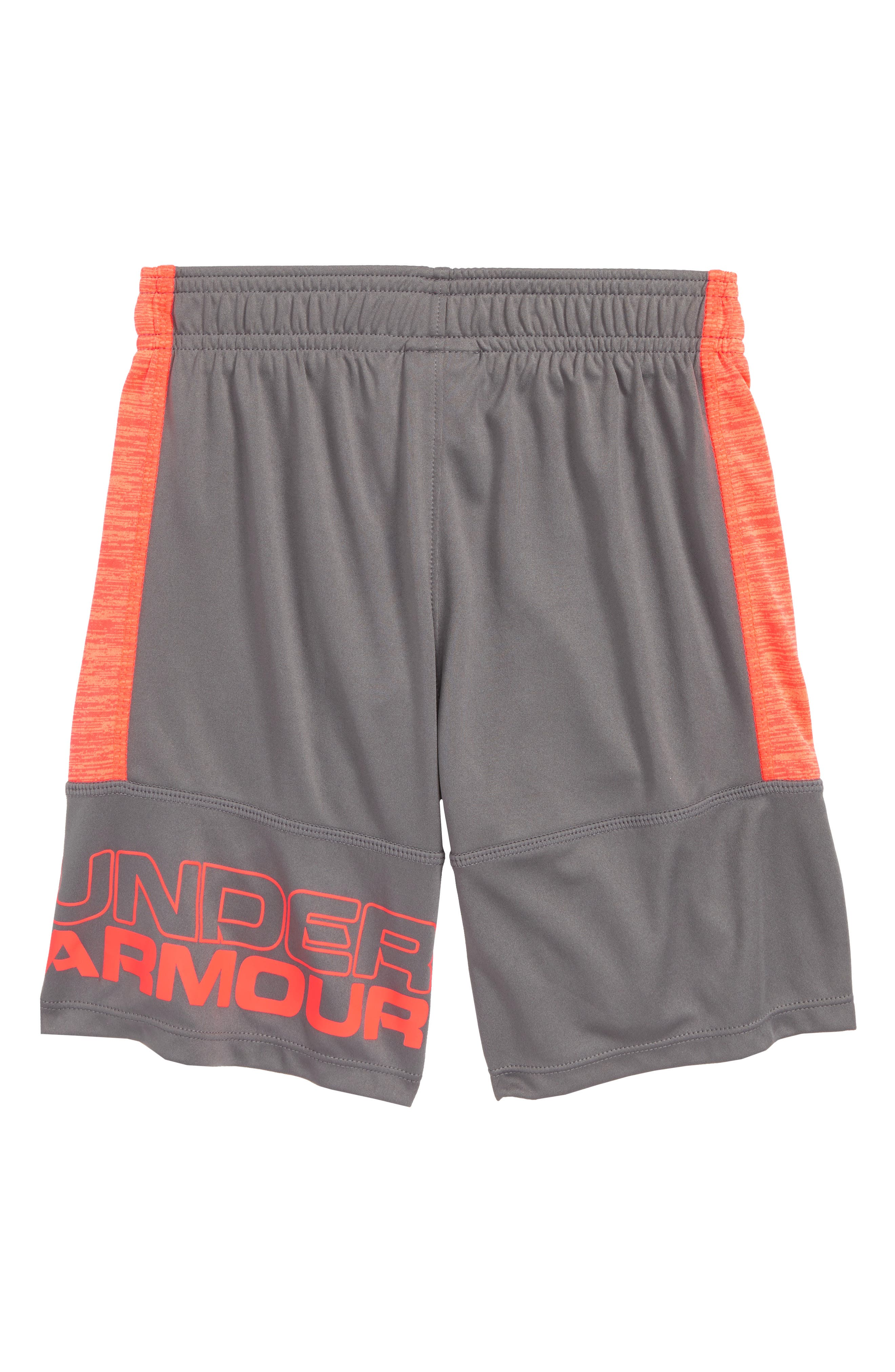 Twist Stunt HeatGear<sup>®</sup> Shorts,                             Alternate thumbnail 2, color,                             GRAPHITE/ NEON CORAL