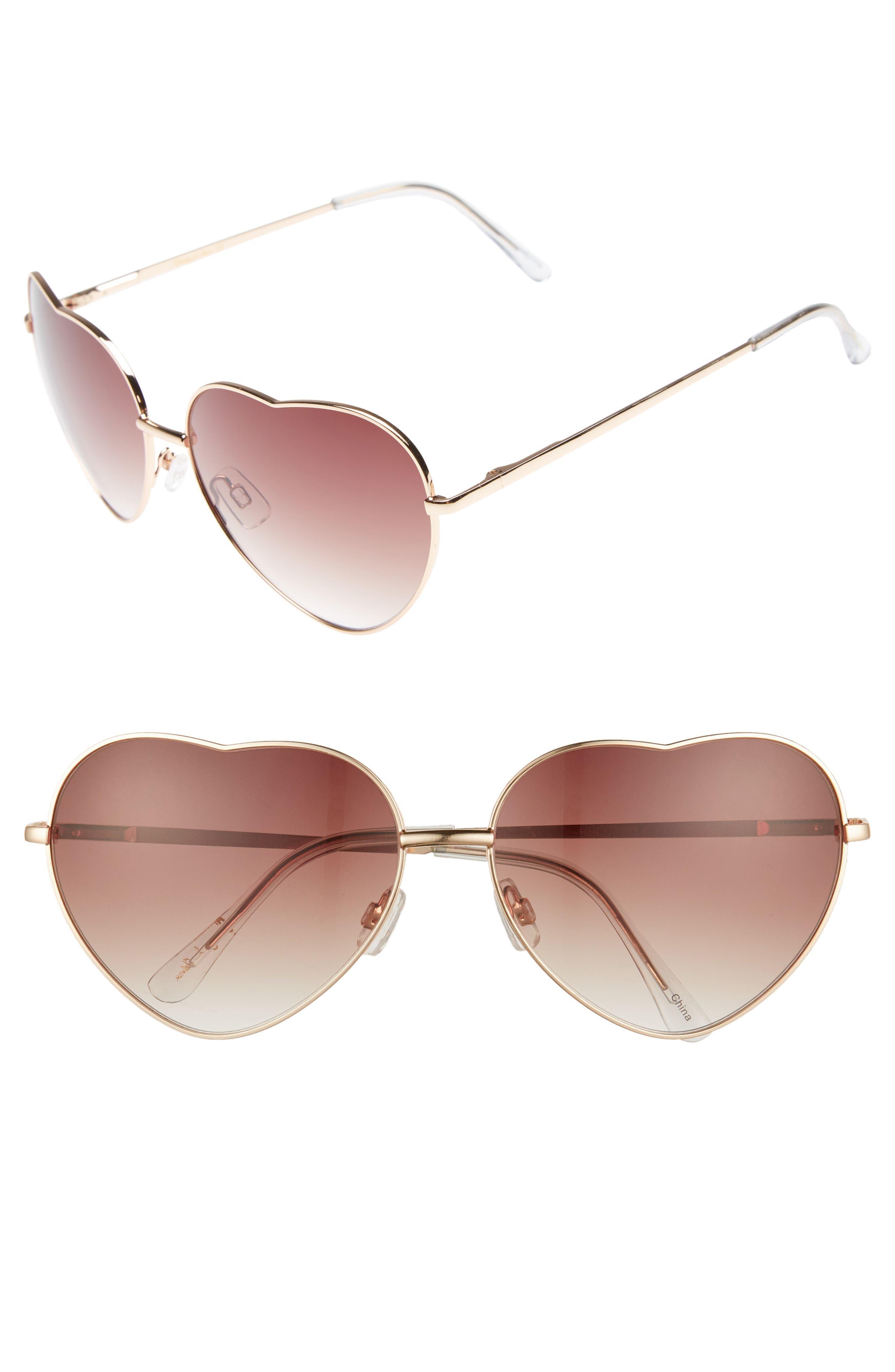 60mm Metal Heart Sunglasses,                             Main thumbnail 2, color,