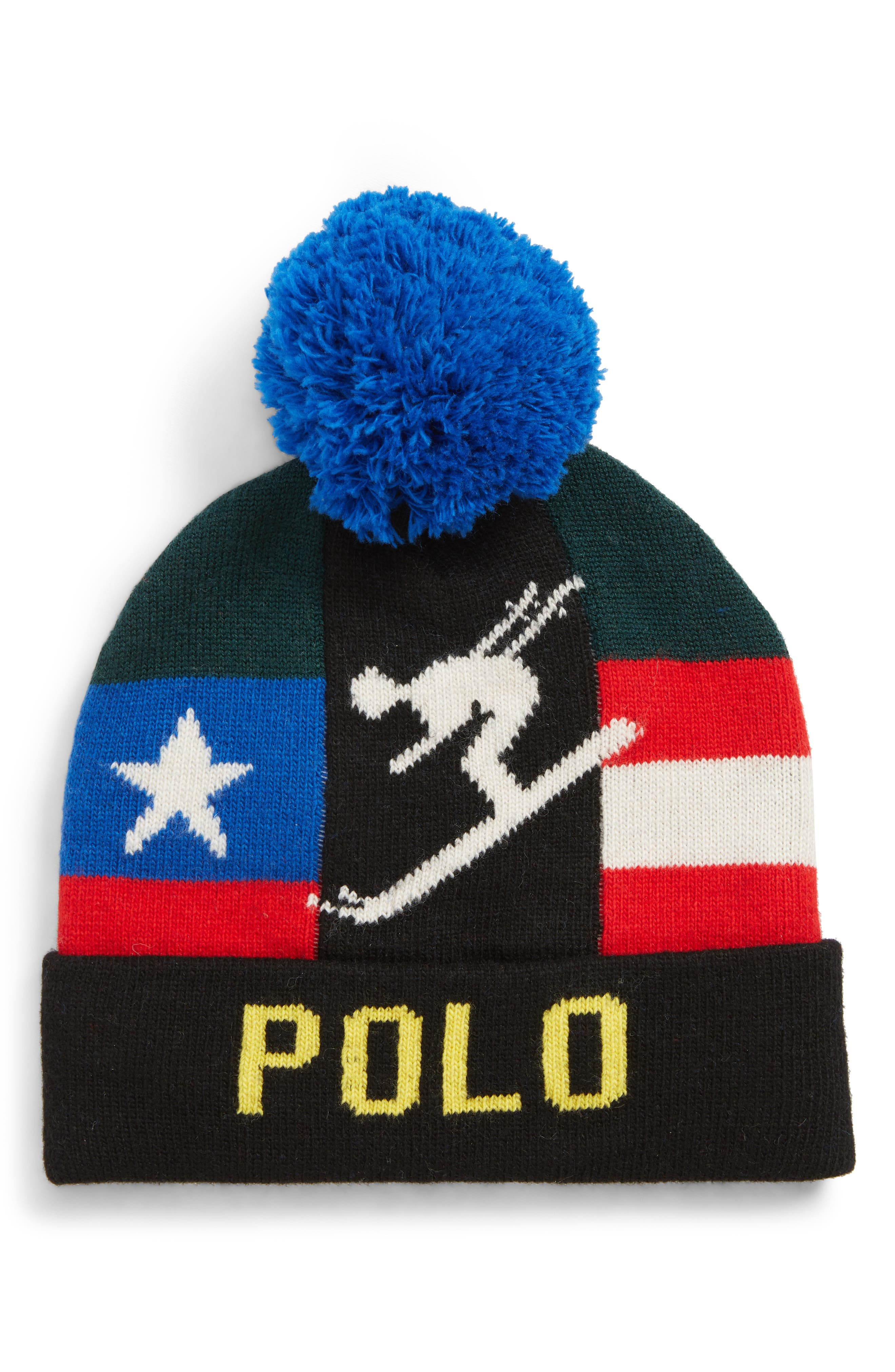 Downhill Skier Pom Beanie,                             Main thumbnail 1, color,                             001