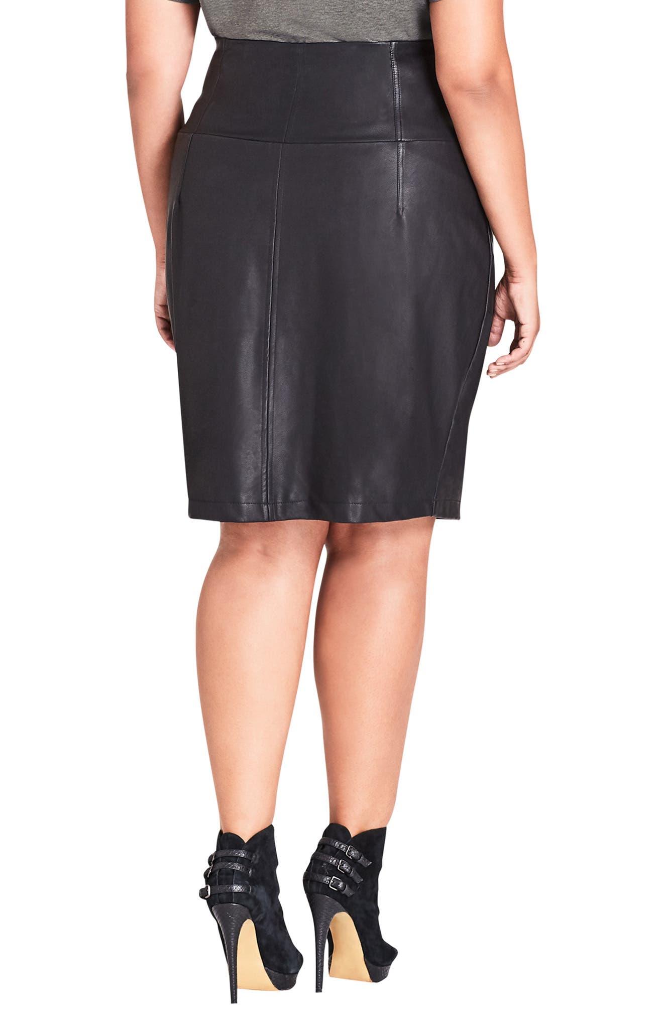 Faux Leather Corset Skirt,                             Alternate thumbnail 2, color,                             BLACK