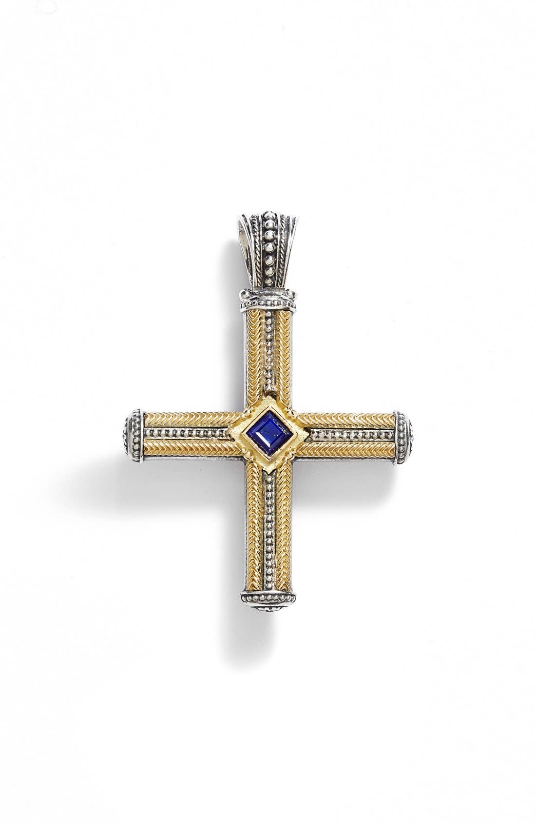 'Orpheus' Semiprecious Stone Cross Pendant,                             Main thumbnail 1, color,                             SILVER/ GOLD/ LAPIS