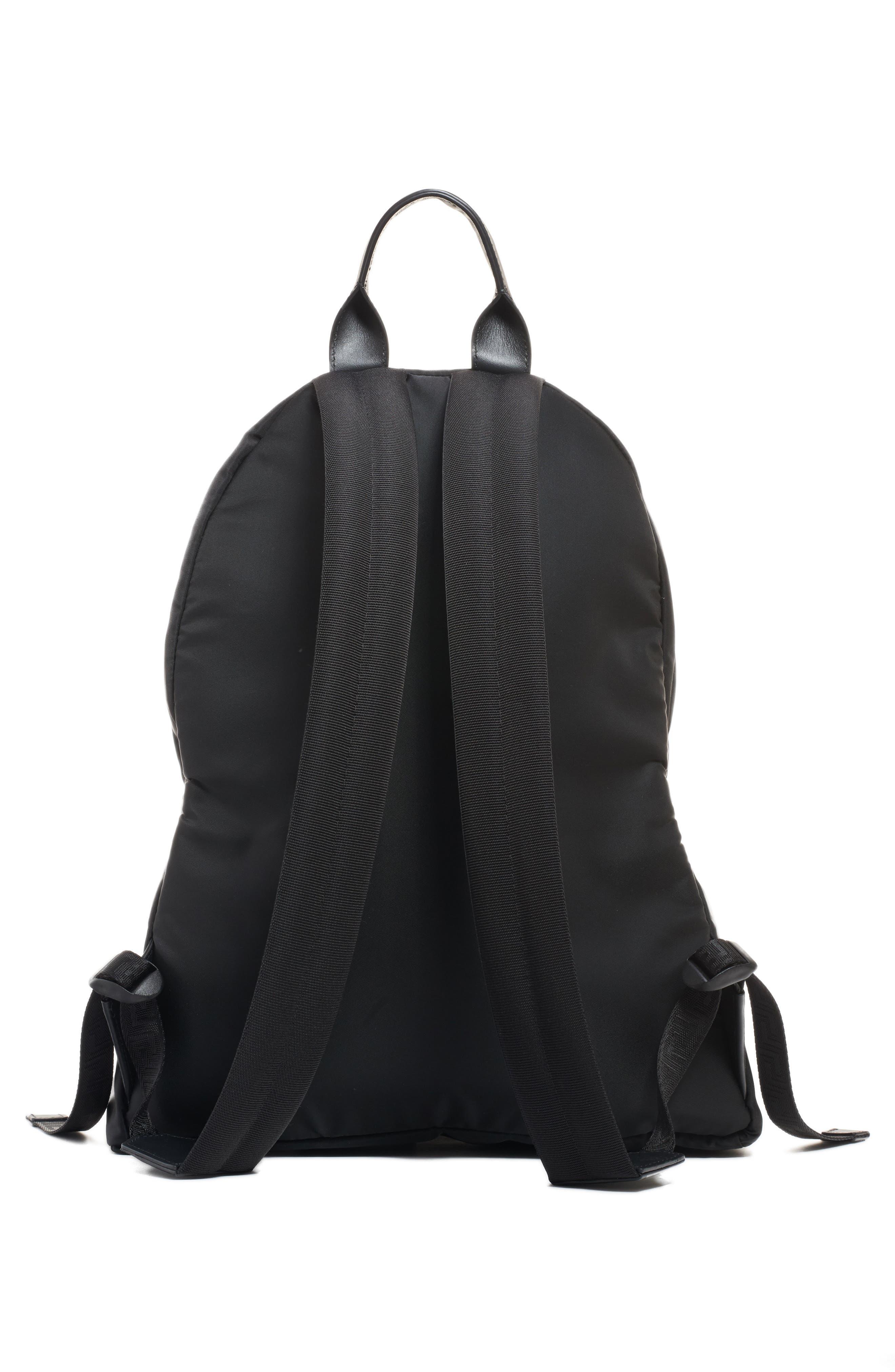 Logo Nylon Backpack,                             Alternate thumbnail 3, color,                             BLACK/ WHITE