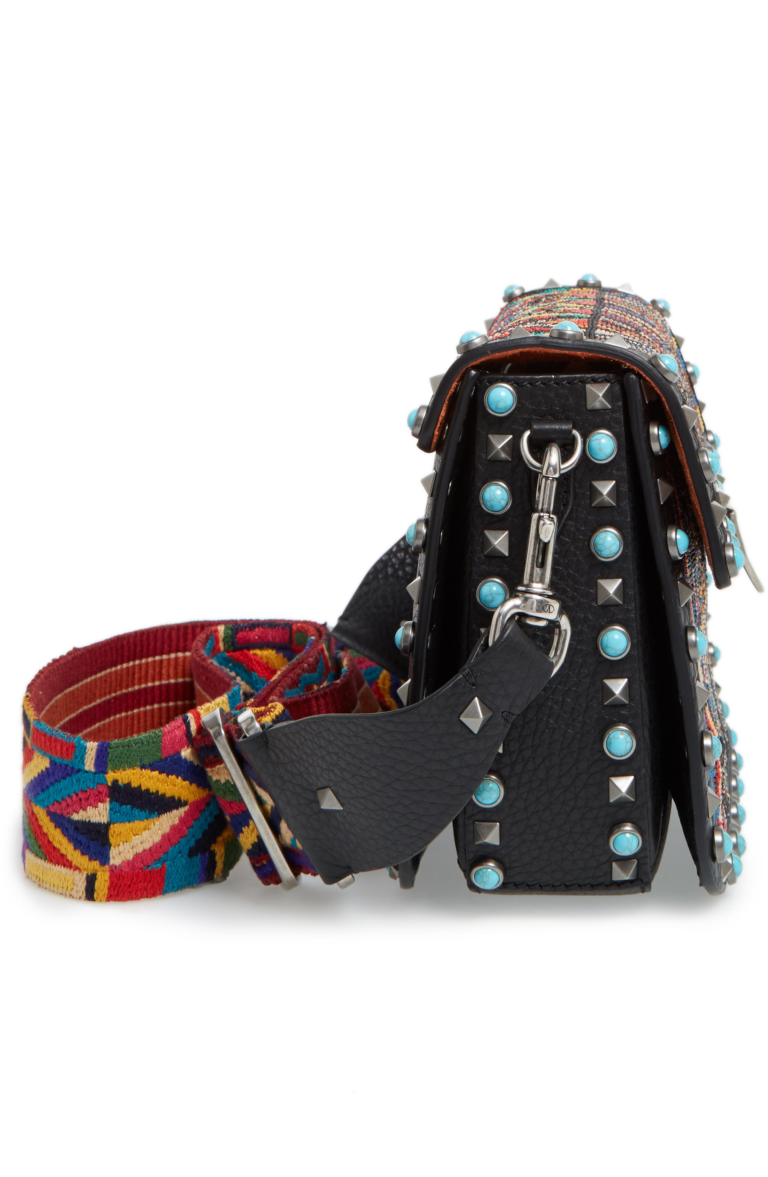 Valentino Rockstud Rolling Beaded Shoulder Bag with Embroidered Guitar Strap,                             Alternate thumbnail 6, color,                             001