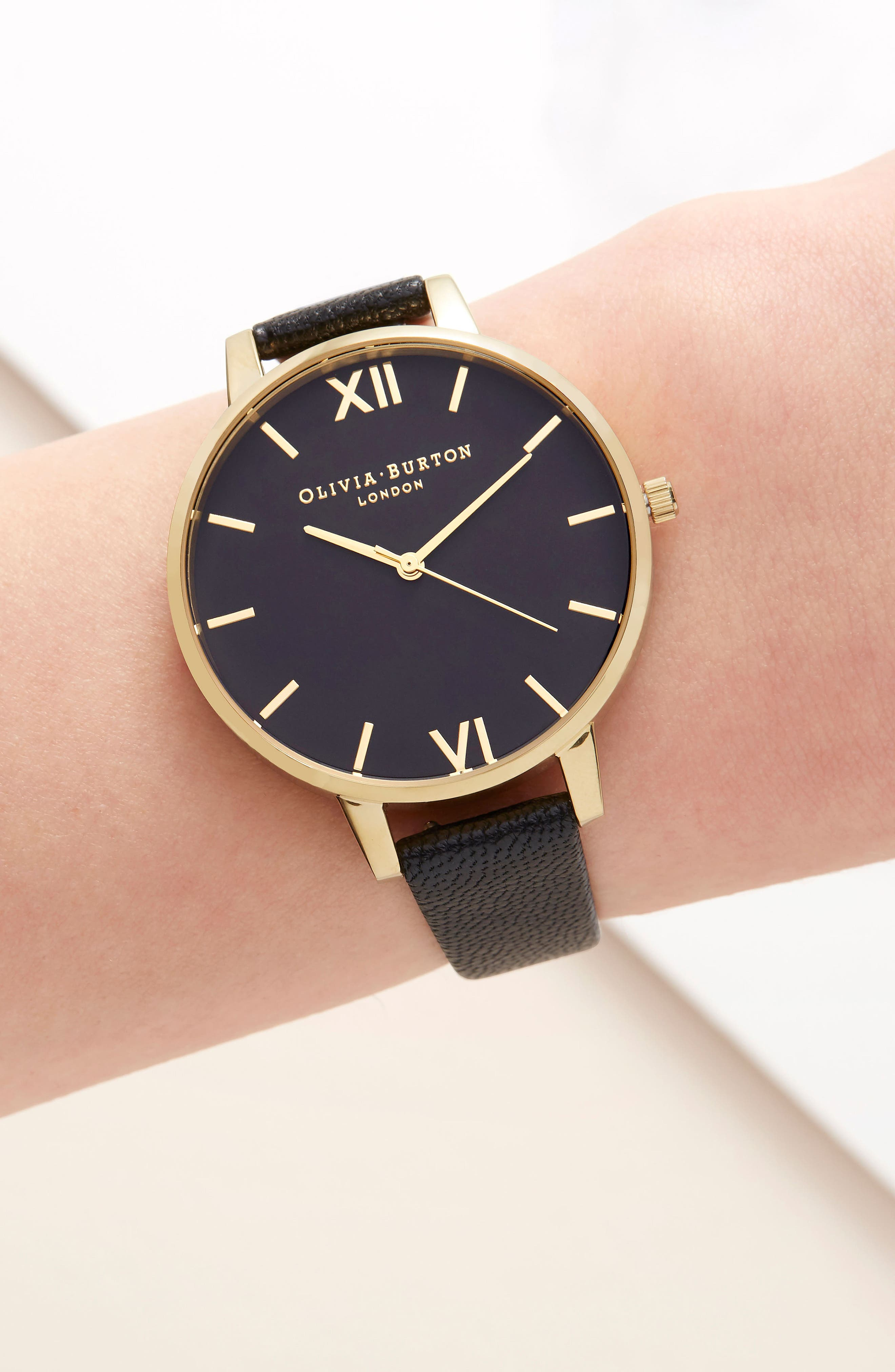 Case Cuff Leather Strap Watch, 38mm,                             Alternate thumbnail 6, color,                             BLACK/ GOLD