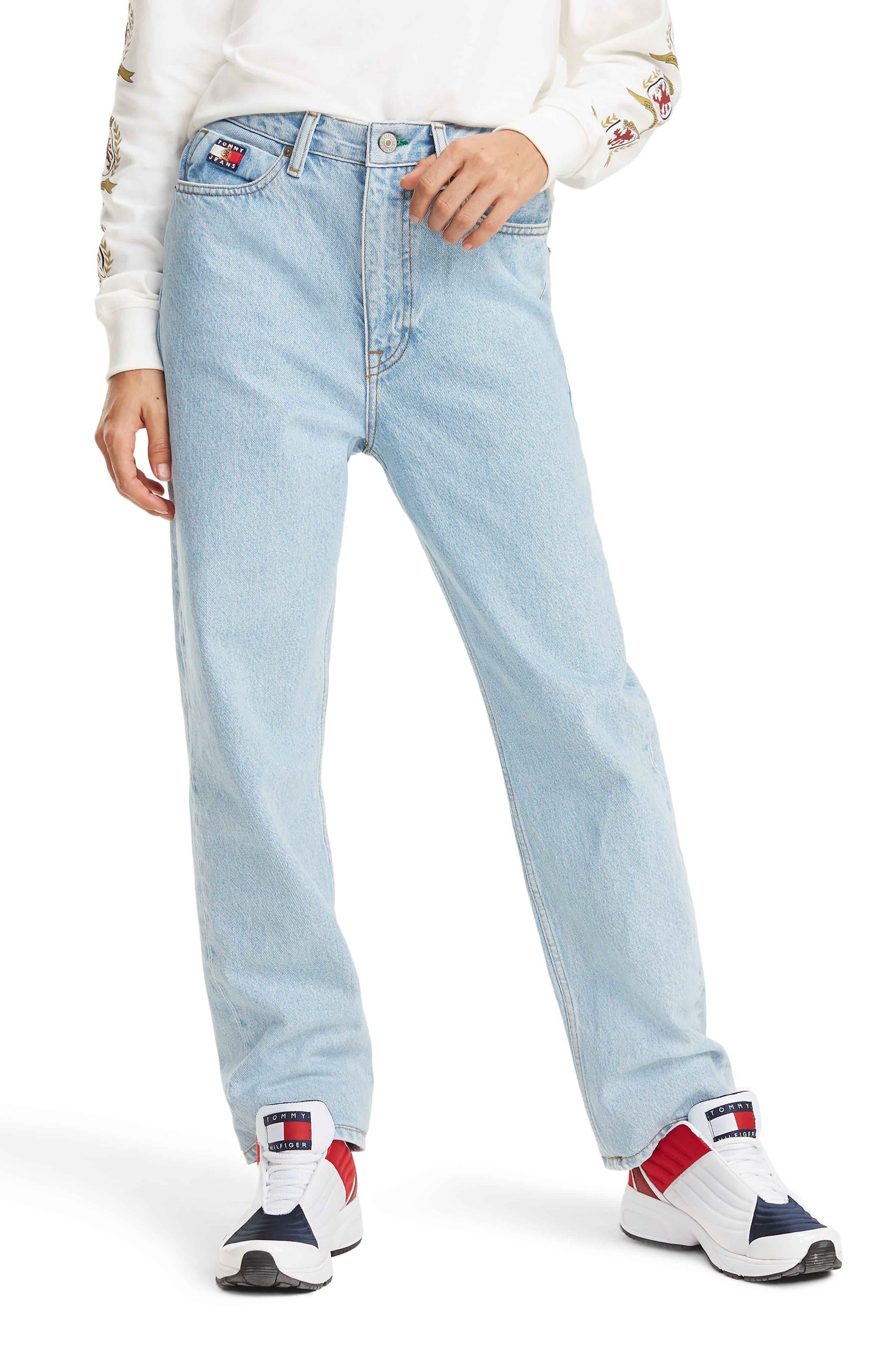 Crest Capsule Mom Jeans,                             Main thumbnail 1, color,                             LIGHT BLUE DENIM