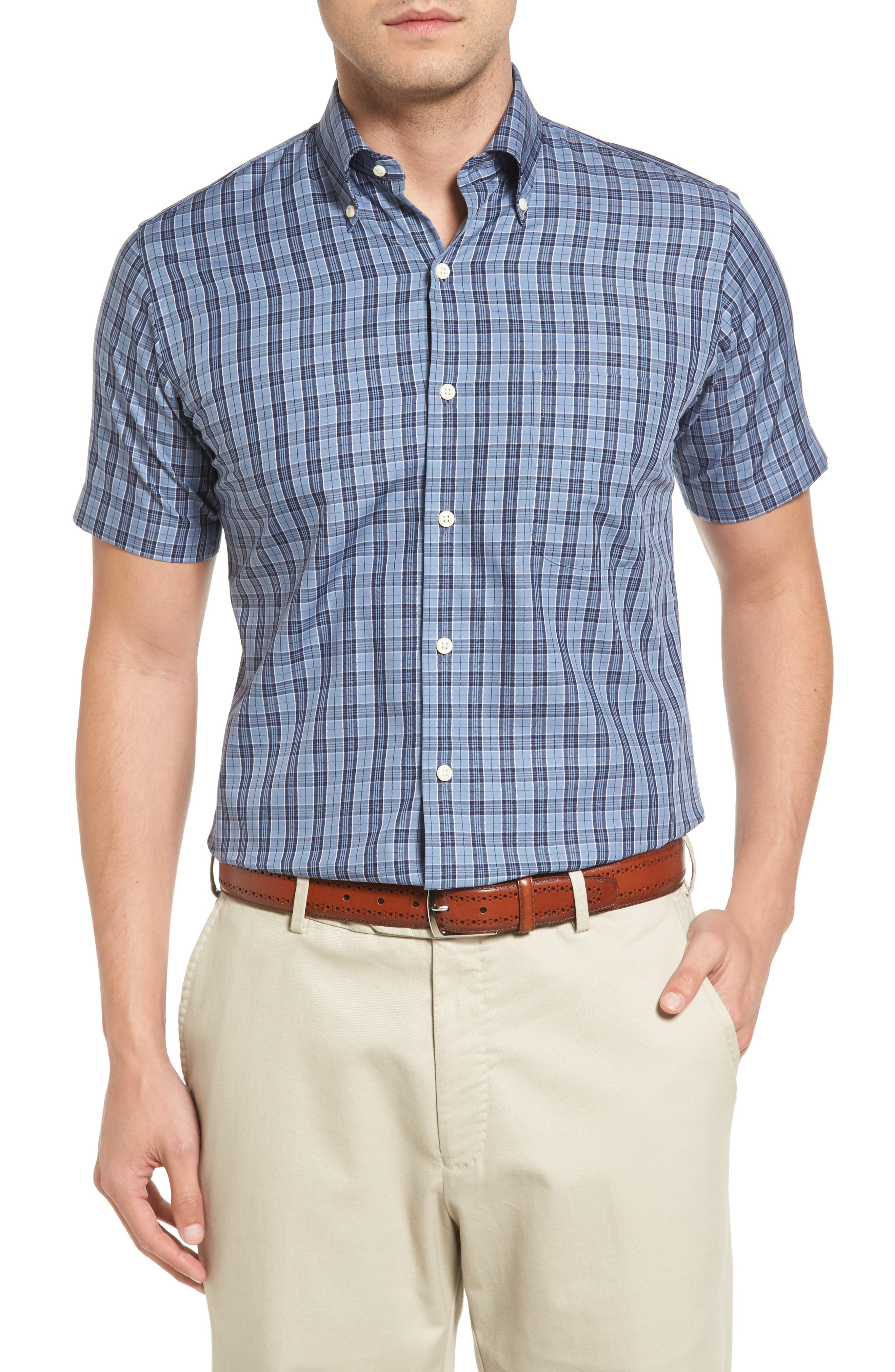 Regular Fit Short Sleeve Stormy Plaid Sport Shirt,                         Main,                         color, 439