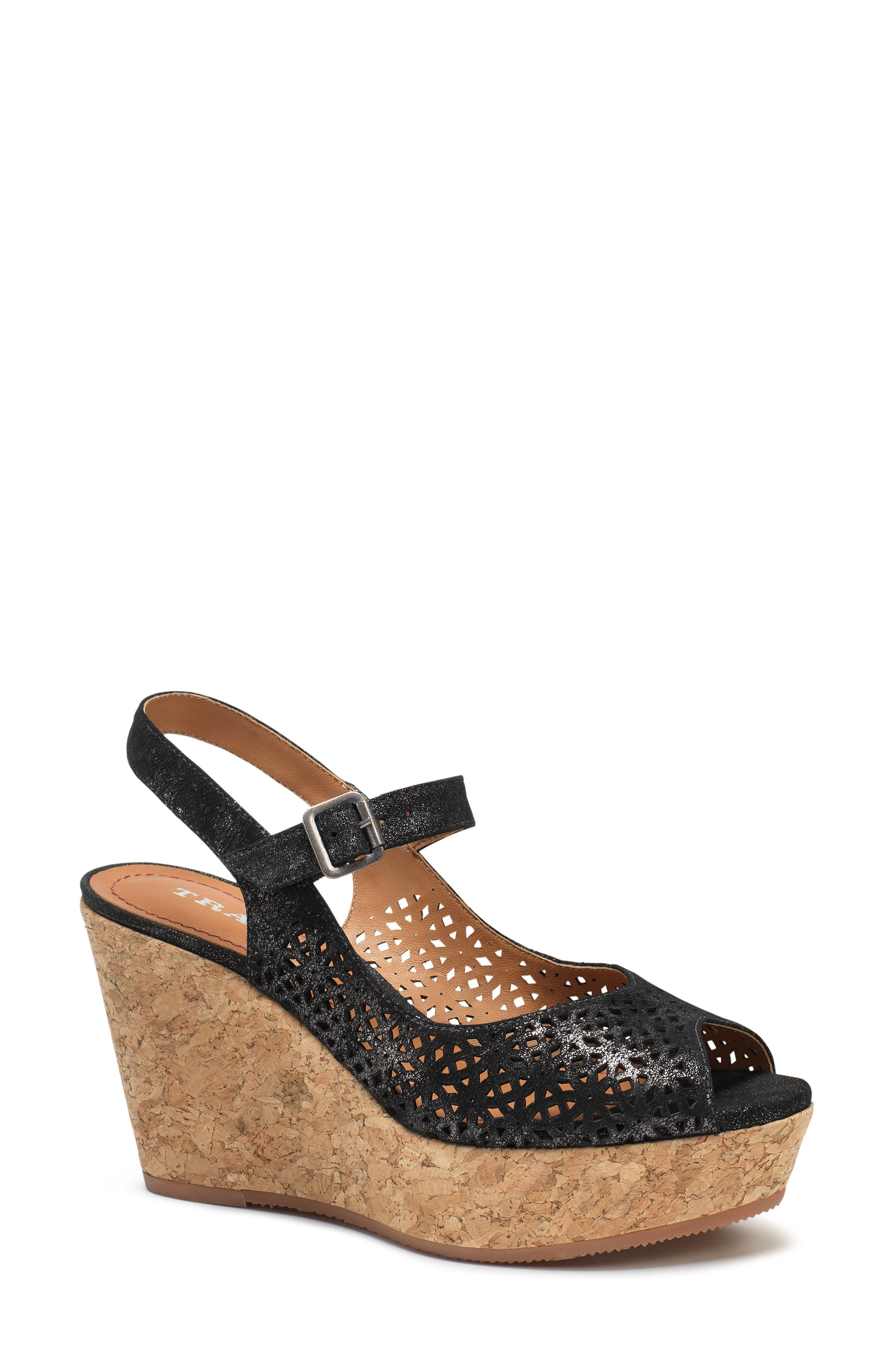 Pattie Wedge Sandal,                         Main,                         color, BLACK METALLIC SUEDE