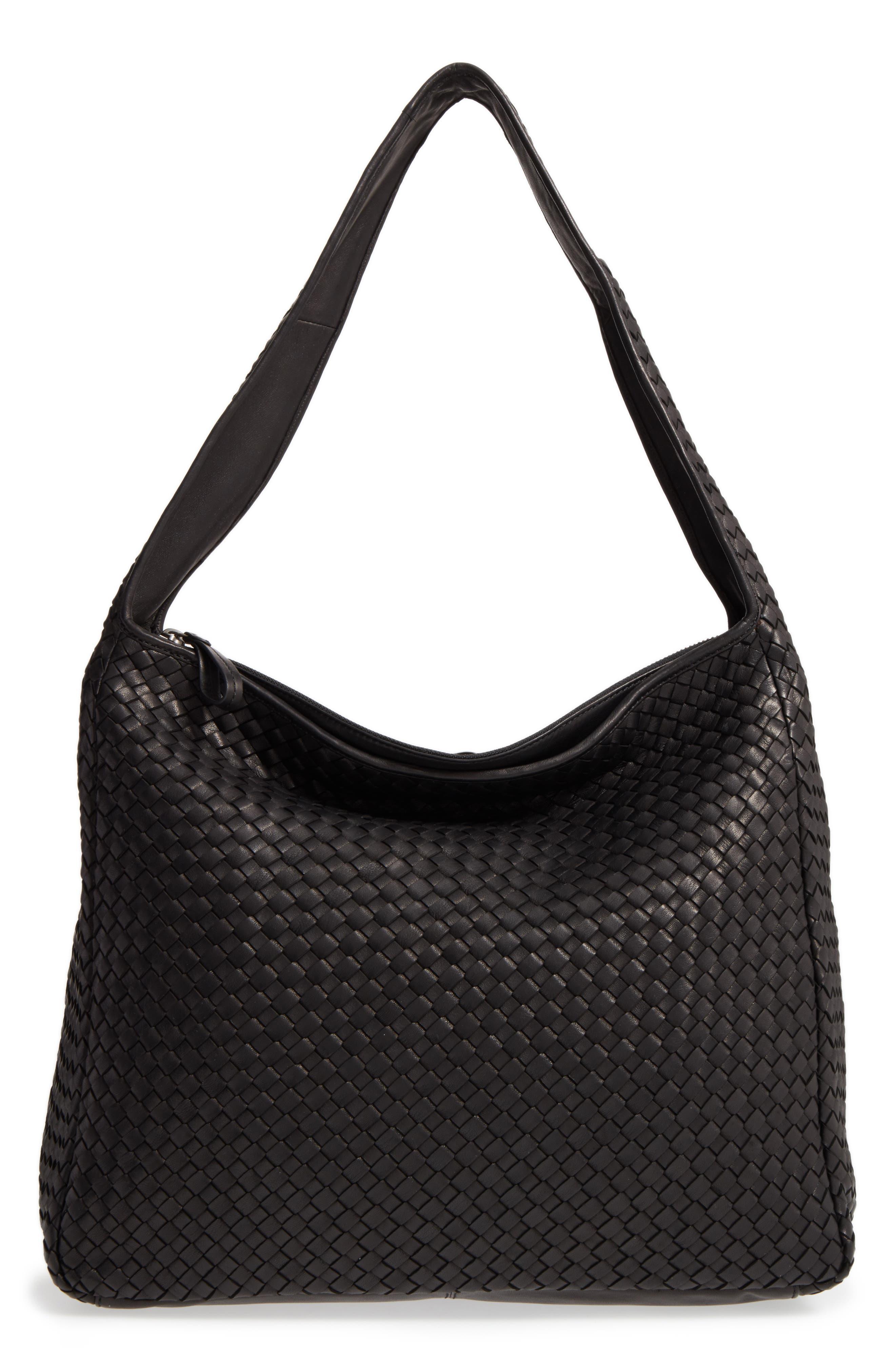 Large Jo Leather Hobo,                         Main,                         color, BLACK