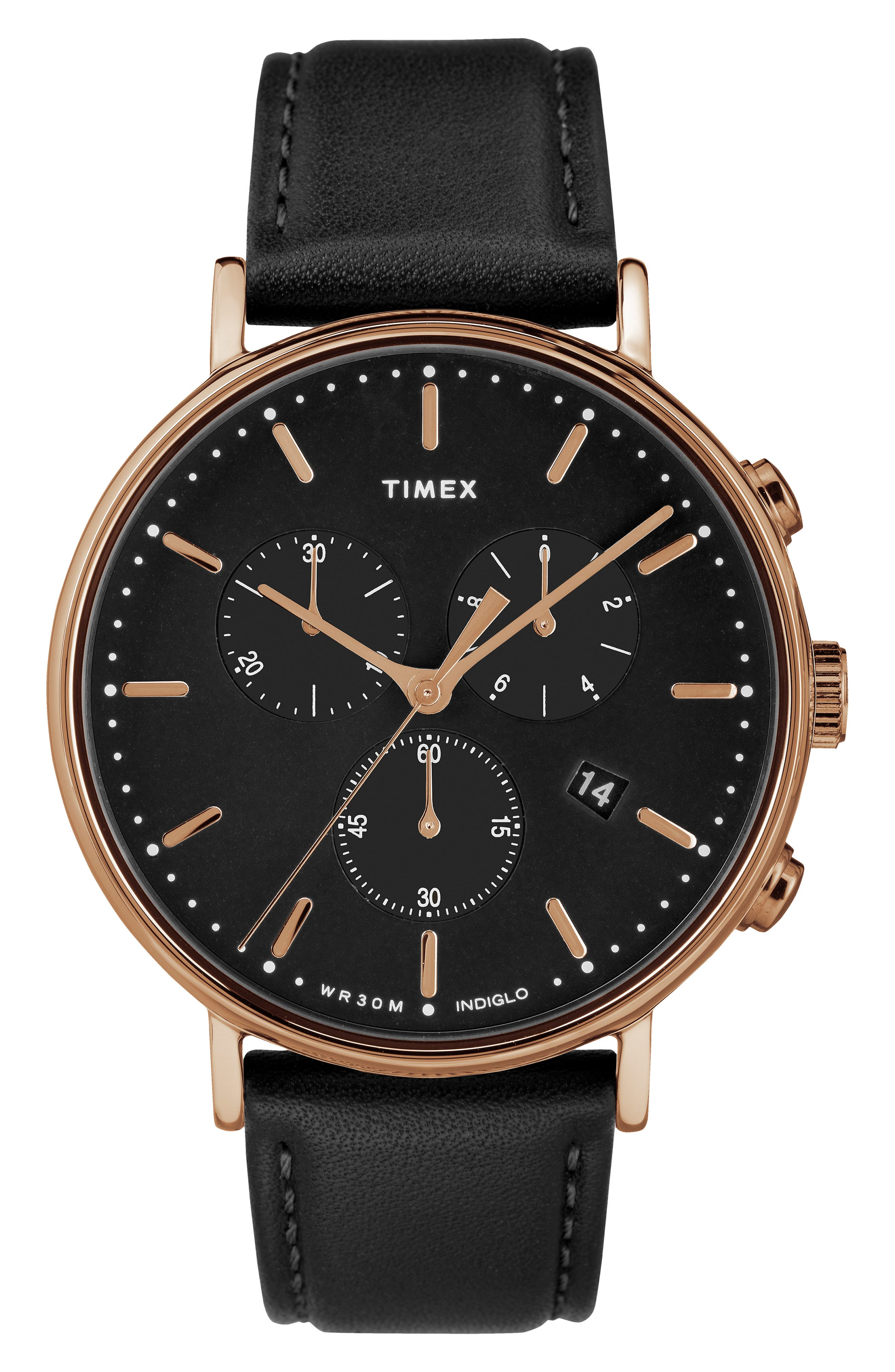 Fairfiled Leather Strap Watch, 41mm,                         Main,                         color, BLACK/ ROSE GOLD
