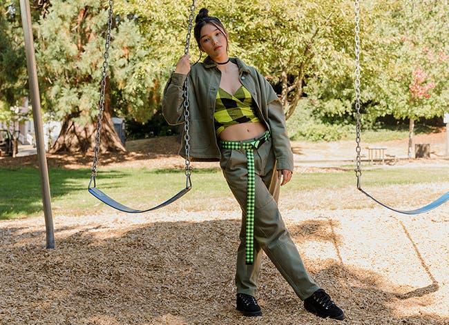 Model wearing a BP. + WILDFANG coat, top, belt and pants.