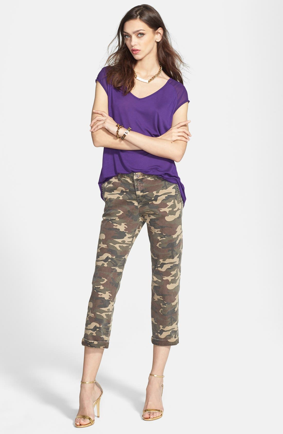 KUT FROM THE KLOTH,                             'Gwen' Camo Crop Pants,                             Main thumbnail 1, color,                             300