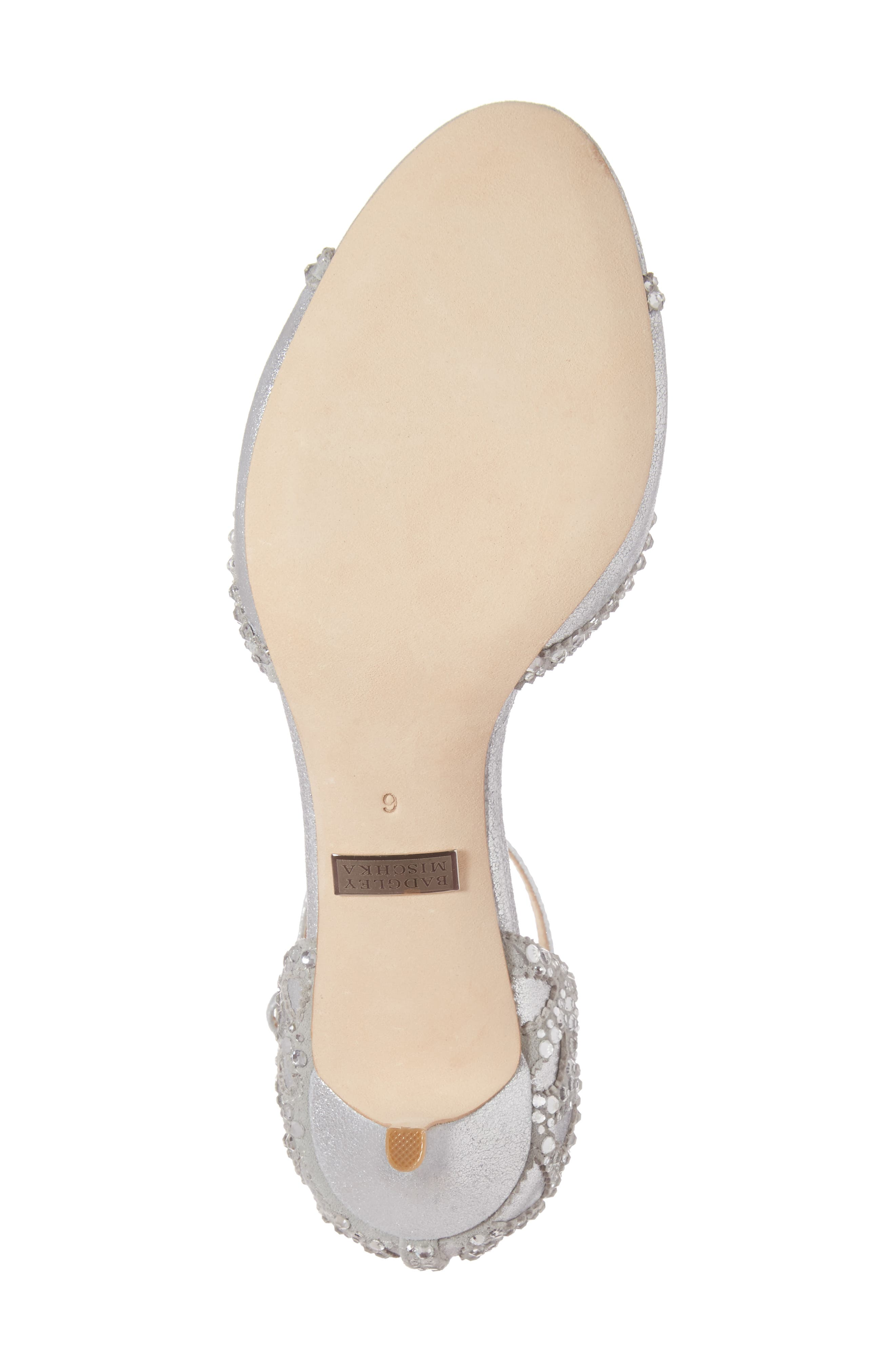 'Gillian' Crystal Embellished d'Orsay Sandal,                             Alternate thumbnail 6, color,                             SILVER METALLIC SUEDE